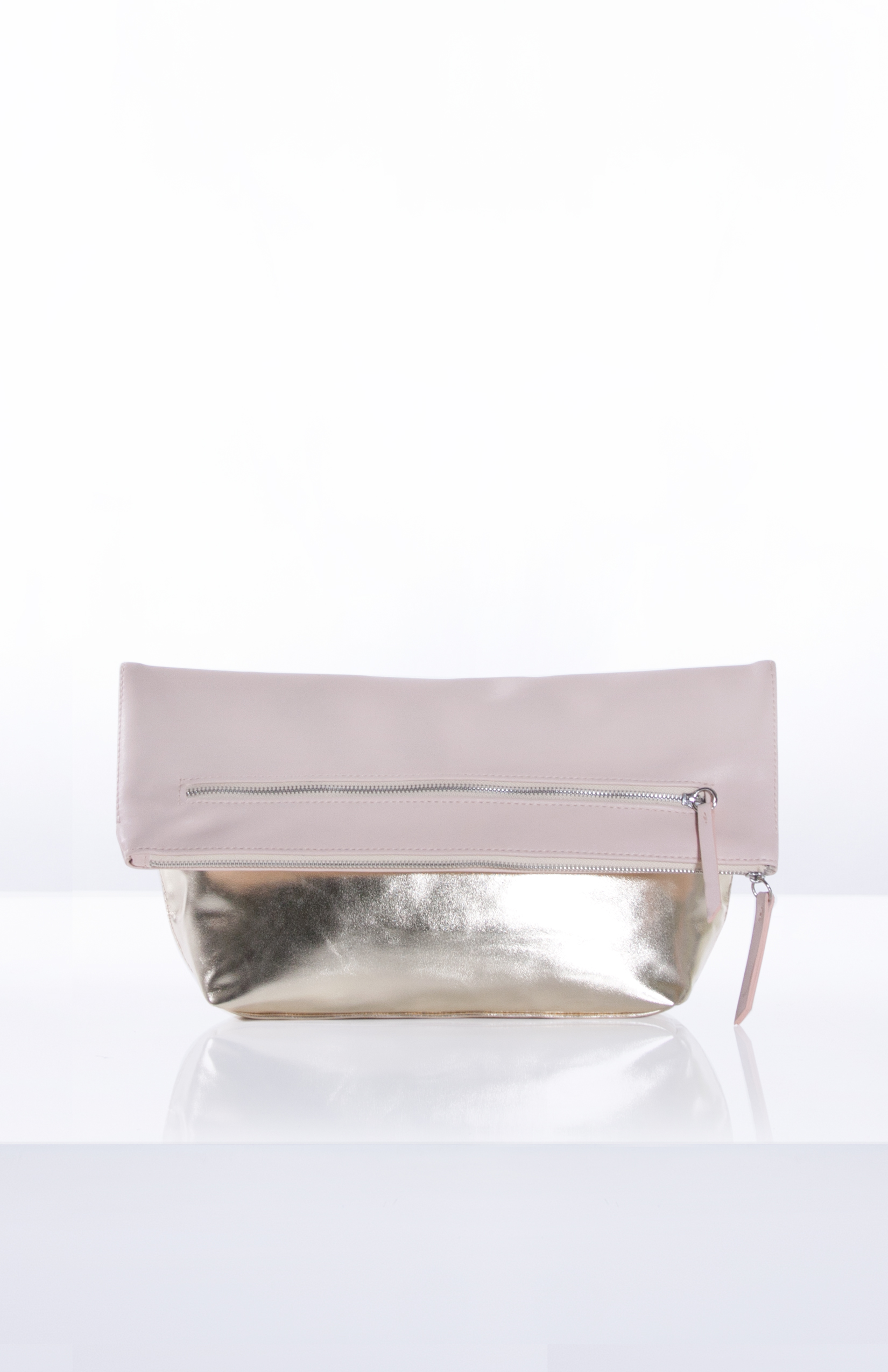 ANASTASIA FOLDOVER CLUTCH- Blush + Pale Gold Gusset