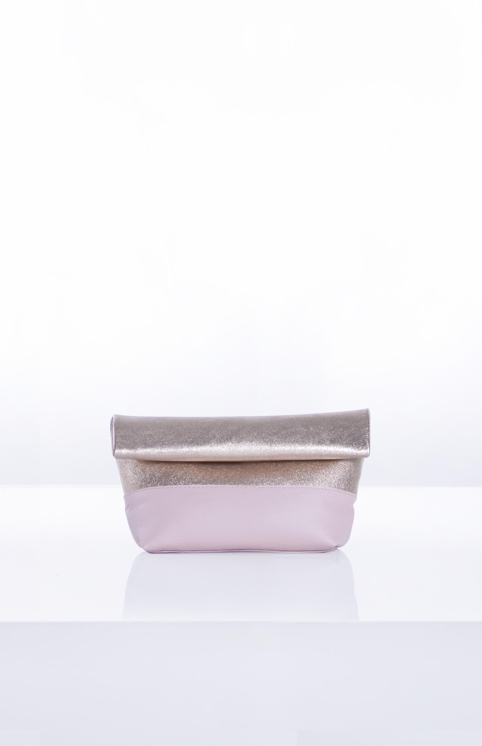LUNA ROLLDOWN CLUTCH- Gold + Blush