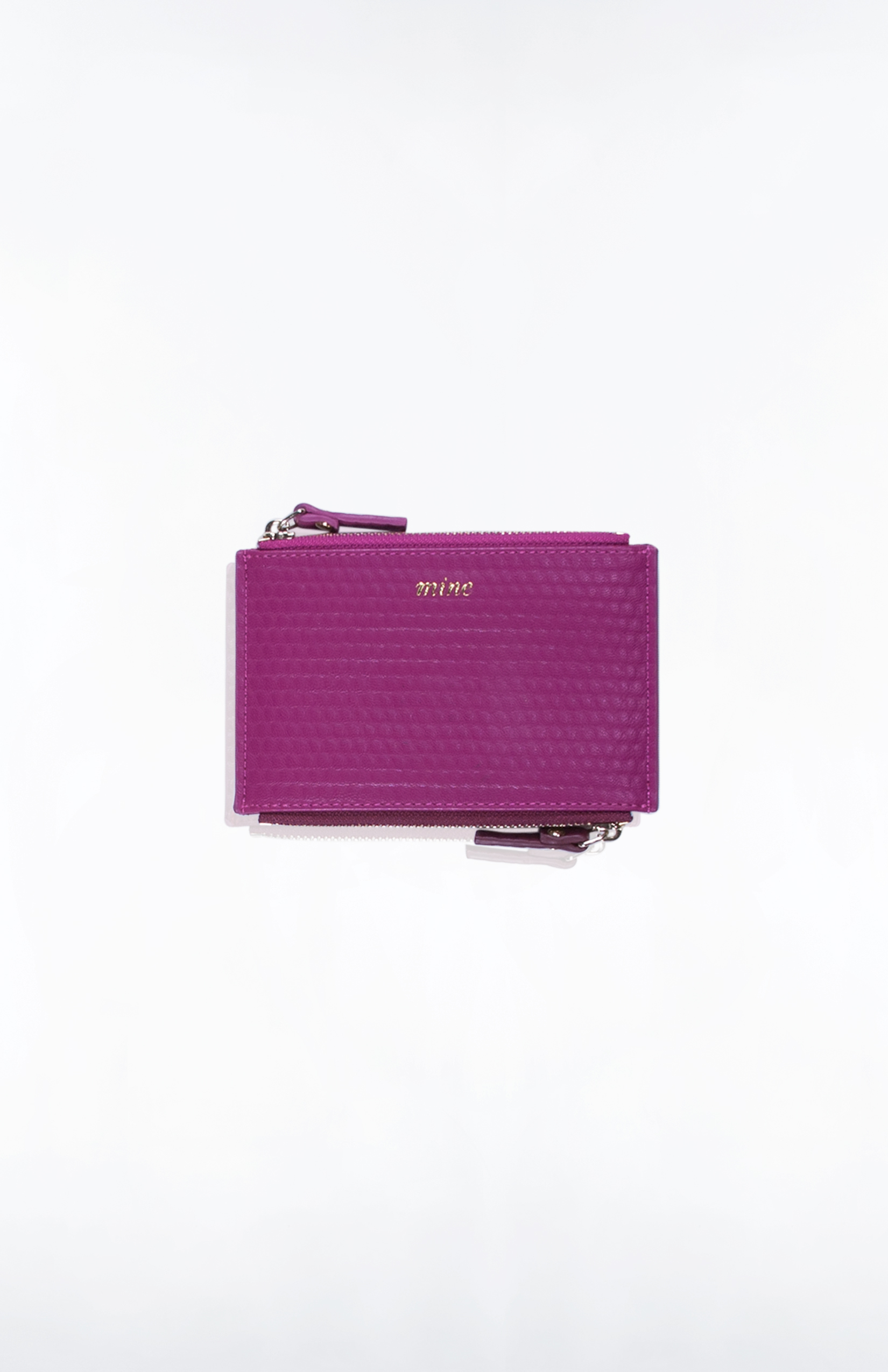 DUALITY CARD CASE (Mine/Yours)- Bubble PU (Berry + Oxblood)
