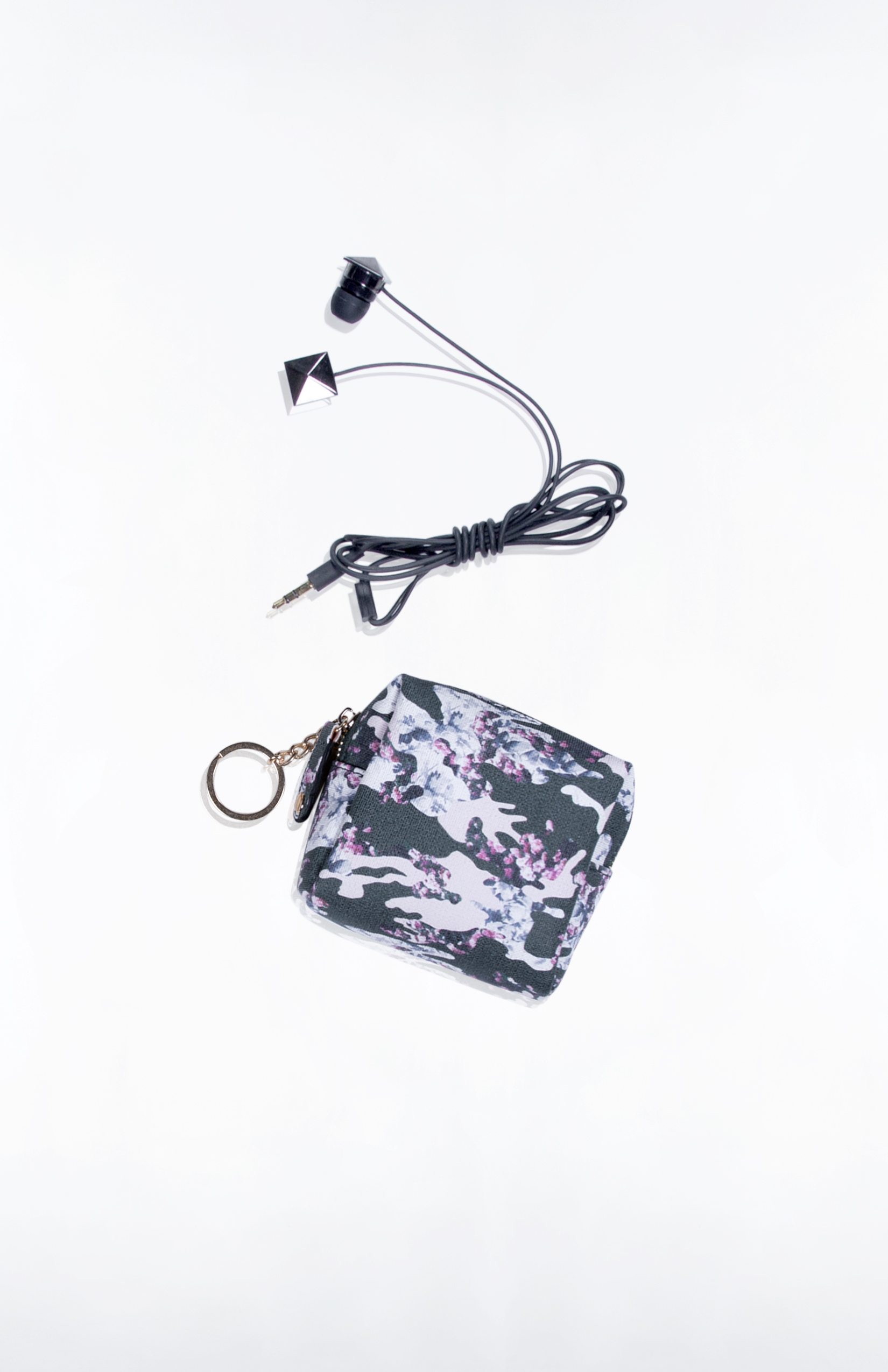 ROE EARBUD/KEY POUCH- Custom Printed Saffiano (Floral Camo)