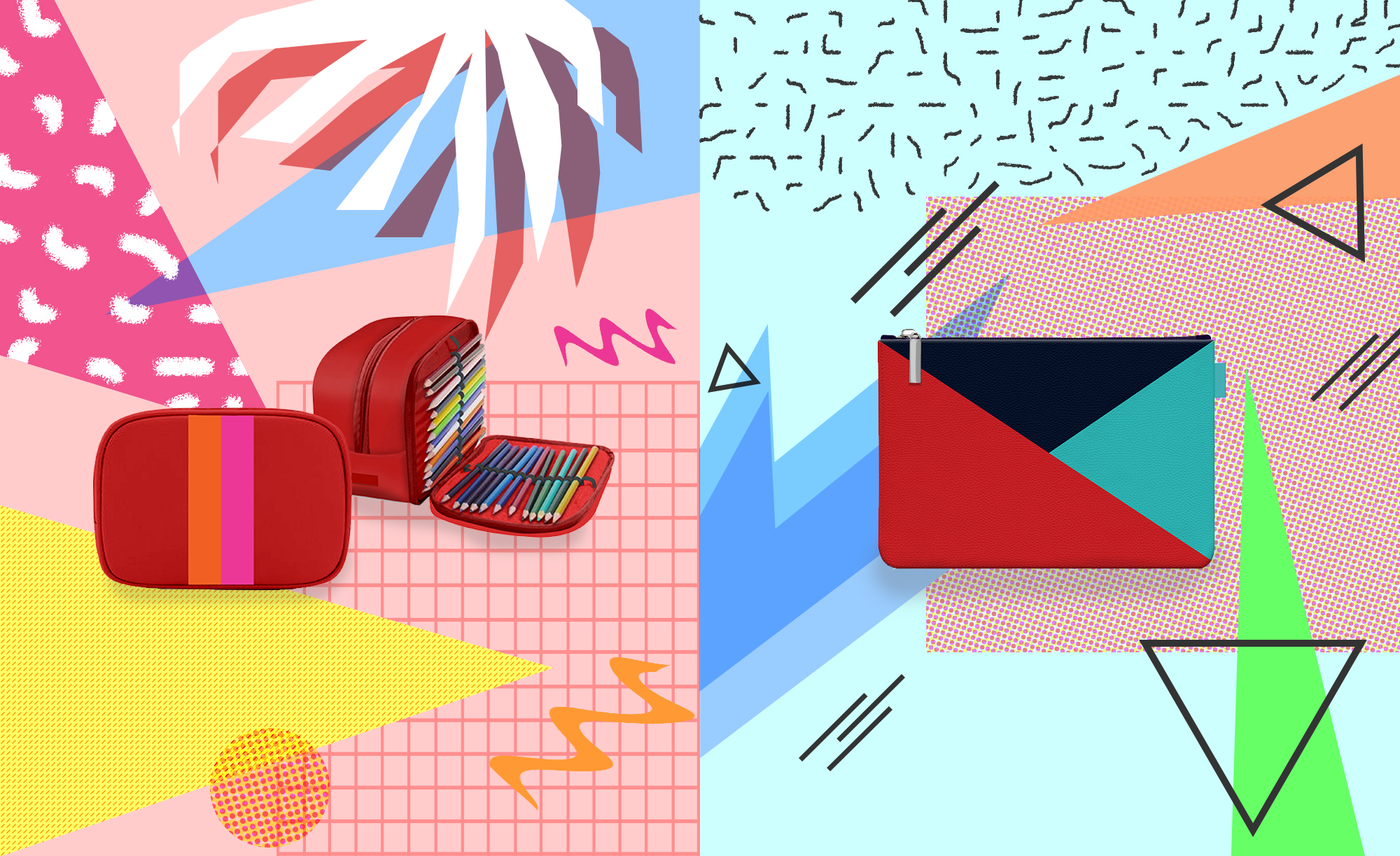 Left: Color block pencil case dopp kit, Right: Geometric flat pouch