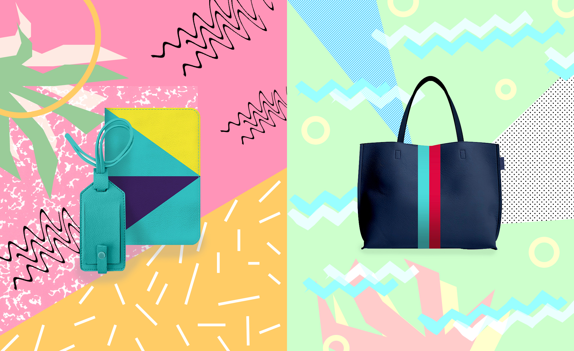Left: Geometric color block travel set, Right: East-west color block tote