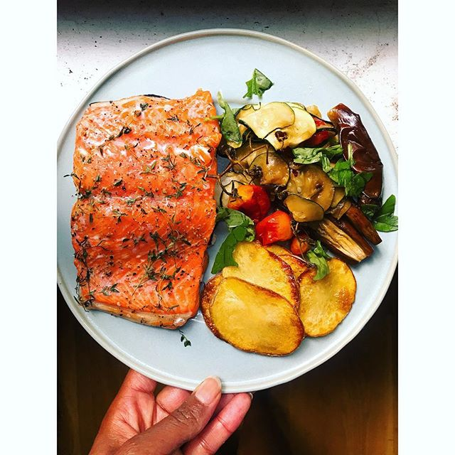 Artifact 2: stove on. Slow roasted wild salmon (300 degrees for ~20 mins. Flake sea salt, pepper, garlic, fresh thyme. Mixed roasted veg: baby eggplants, thin sliced zucchini tomatoes, fresh basil. Potato crisps). Not sure why, but this is where my mind went... Fire escape garden is 💪🌱. #eatlocal #treatyoself #glutenfree #healthyfood #autoimmuneplate #lowfodmap #urbangardening #salmon #lunch