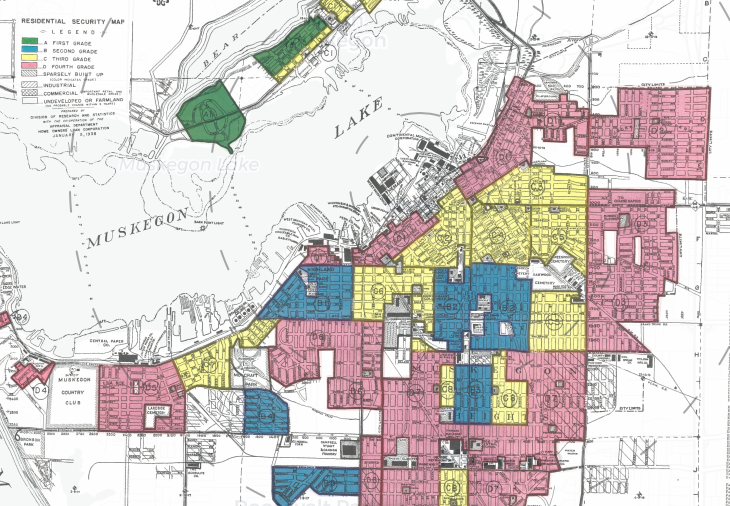 (Click here to see interactive redlining maps and appraisers descriptions from Muskegon in 1937)