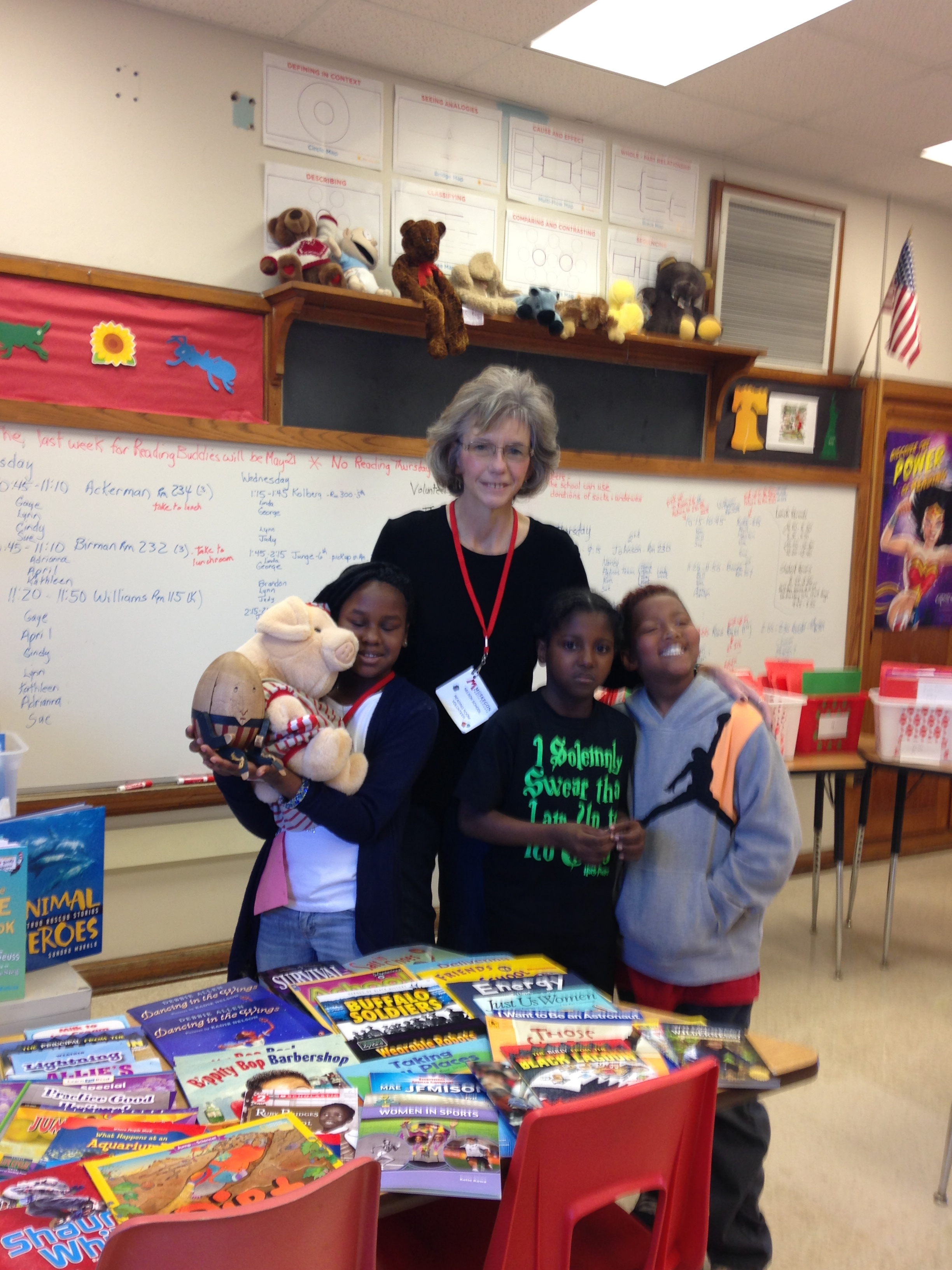 April Thompson with Reading buddies partisipants.