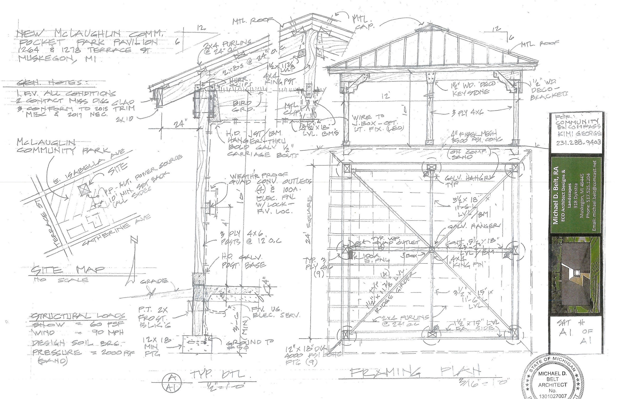 Early blueprints for the pavilion.