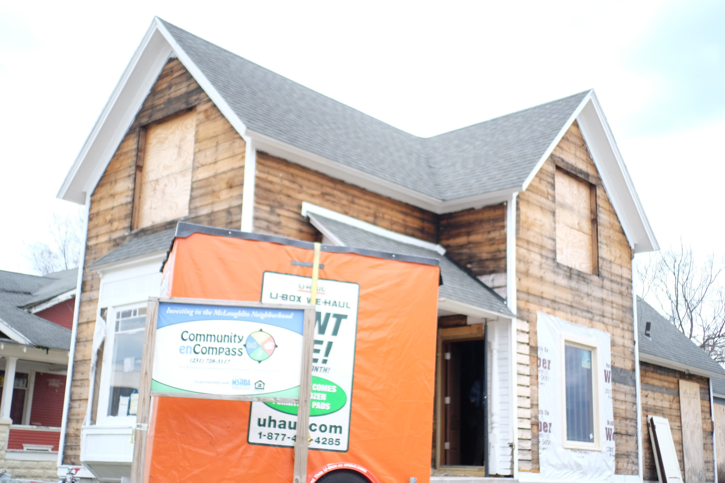 A home being rehabbed for sale.