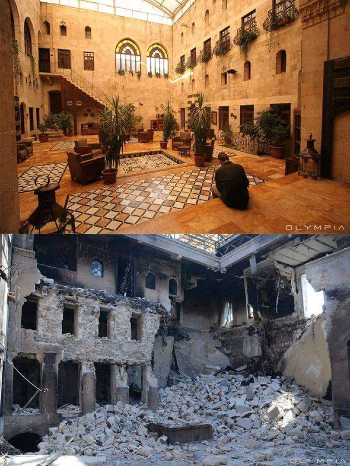 This is a typical Aleppo house with a courtyard. Here was before a well-visited restaurant. This houses were destroyed around 2012.