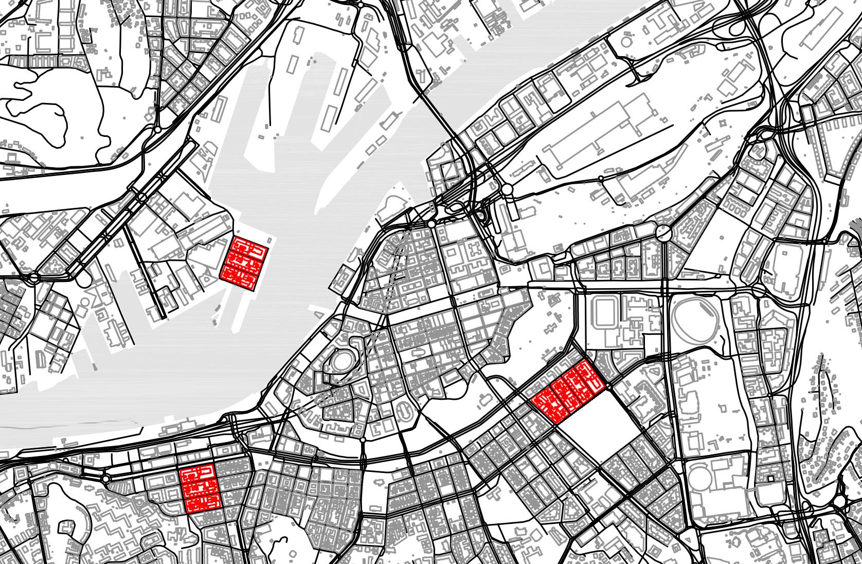 """Figur 4. Läge handlar om platsers samband till andra platser och inte bara platsernas utformning i sig. Jämför exempelvis effekterna av att placera några av kvarteren vid de """"levande"""" Långatorna i Göteborg i en serie olika lägen. Vi förstår då hur exakt samma plats får oerhört olika möjligheter och karaktär beroende på sitt läge i förhållande till andra platser."""