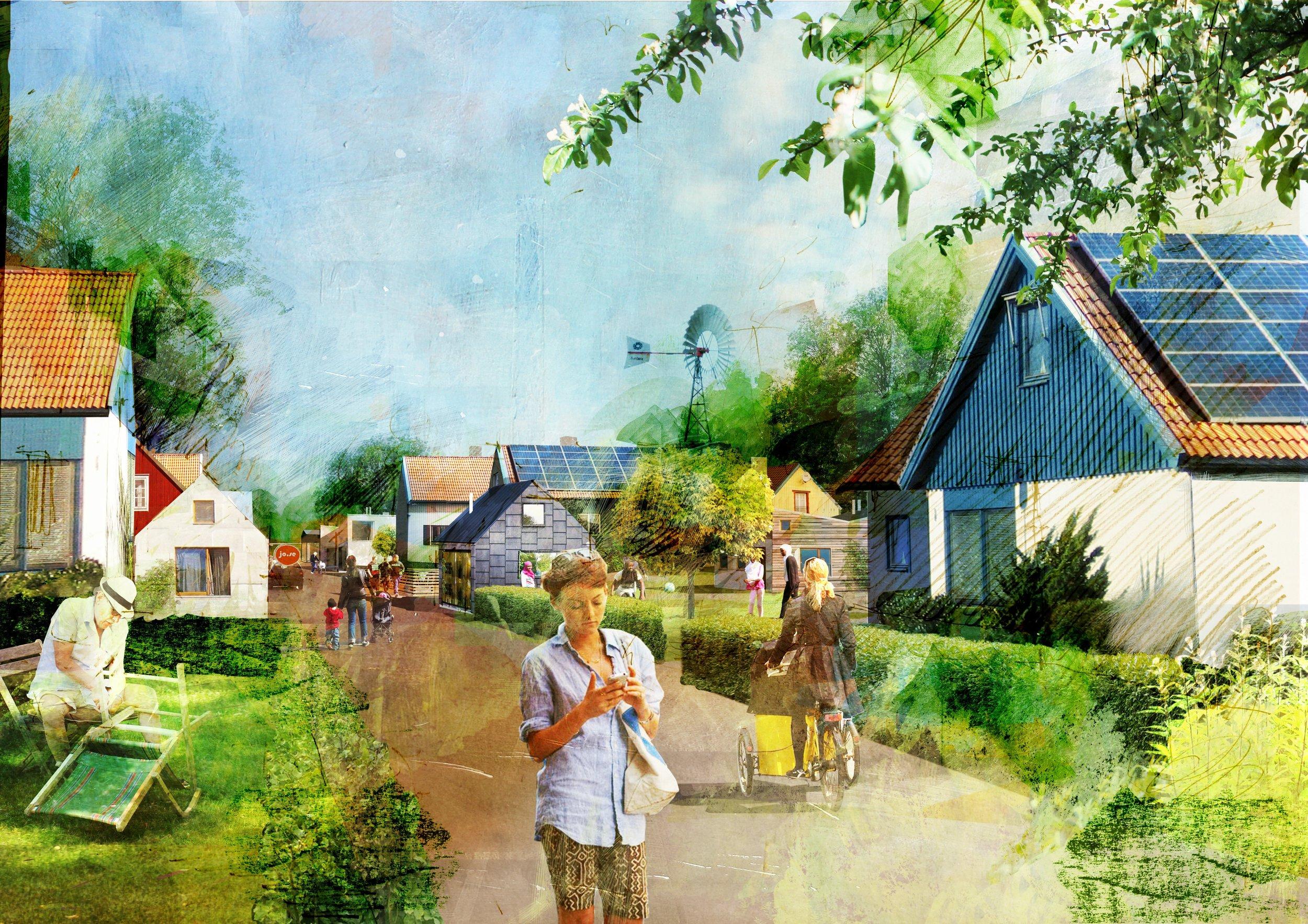 En möjlig framtid i villastaden där utveckling sker gradvis över tid. Bild: David Wiberg.