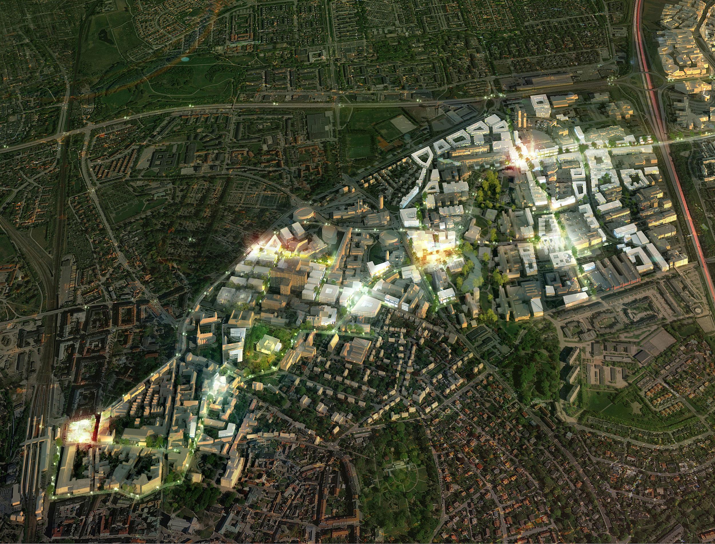 Lund. Kunskapsstråket – den hållbara staden, mellan innerstaden och Brunnshög är ett stråk med unik koncentration av vetenskap, forskning och innovativa företag. Här studerar och arbetar närmare 55.000 personer är idag regionens största arbetsplats för kunskapsbaserade verksamheter. (Exempel på nyskapande projekt)