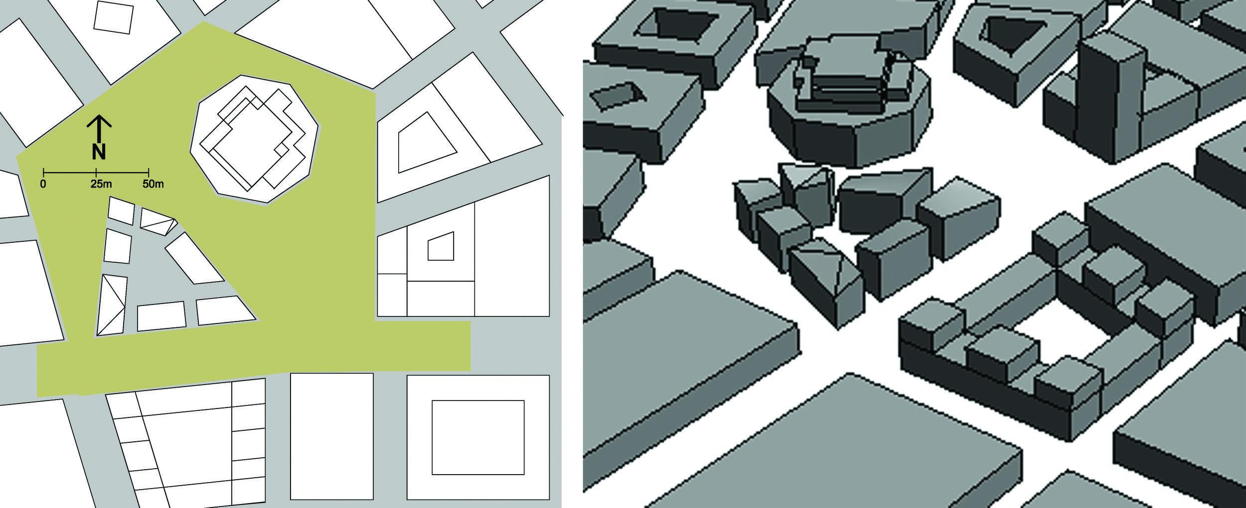 Situationsplan och 3D-illustration av designförslaget. Studiefallet är baserat på ett designförslag av White Arkitekter.