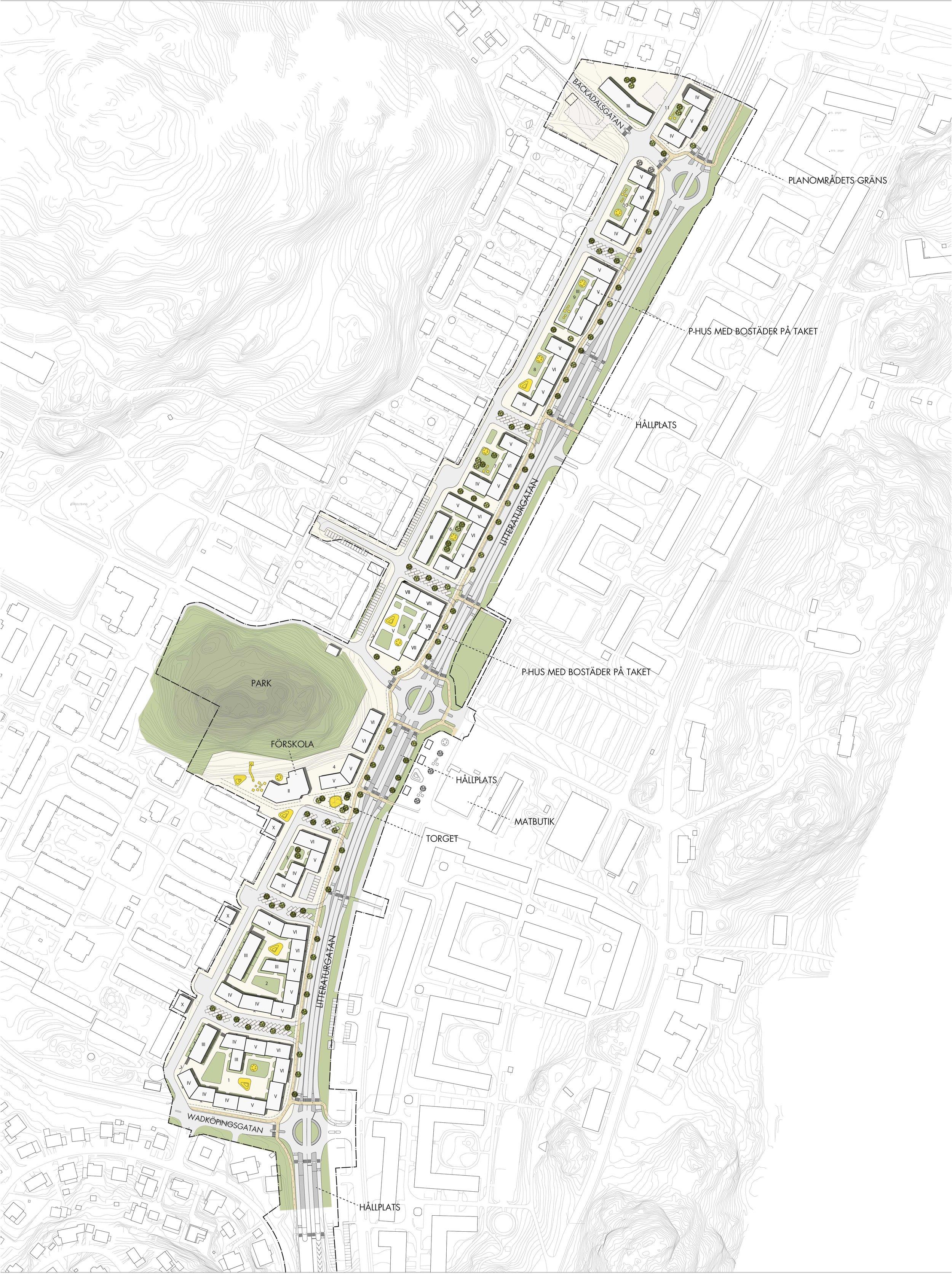 Illustrationsplan med nya Litteraturgatan i öster och förtätningsområdet i väster. Illustration: Okidoki! Arkitekter