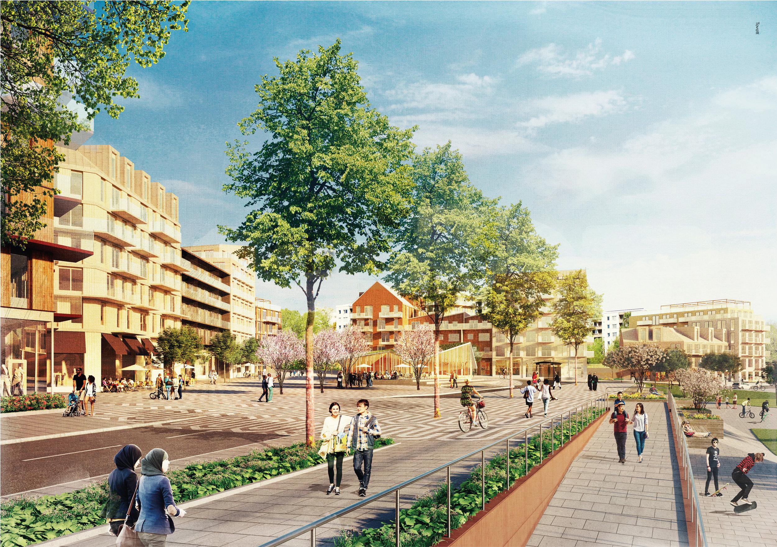 Visionsbild som visar ny föreslagen bebyggelse kring det nya torget i korsningen Vårbergsvägen/Svanholmsvägen samt nya kopplingar till Vårbergs IP genom trappningar. Illustration Tovatt Architects & planners