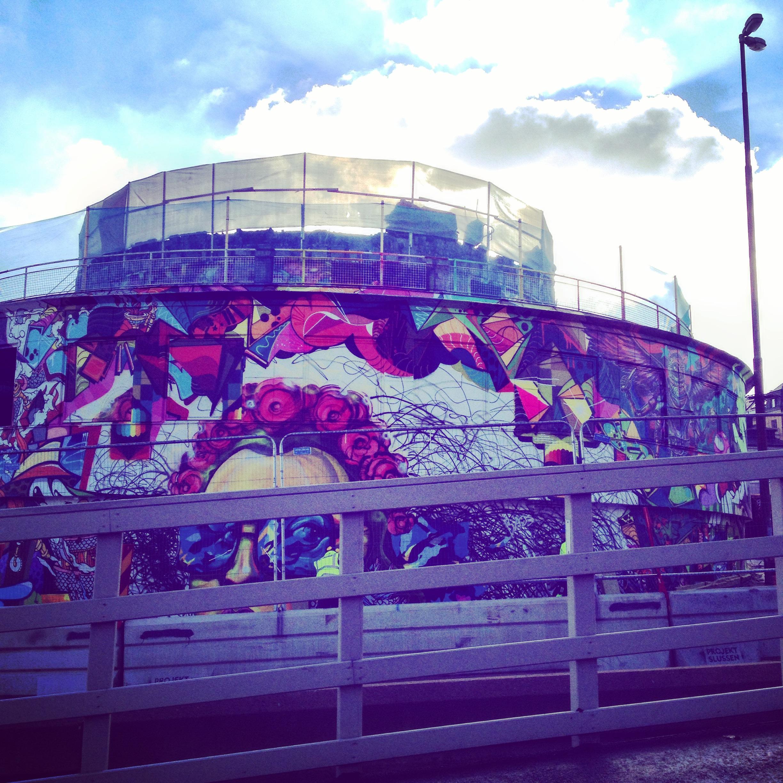 The building Kolingsborg at Södermalmstorg covered in graffiti before its demolition in 2015.Photo © Sofie Rådestad).