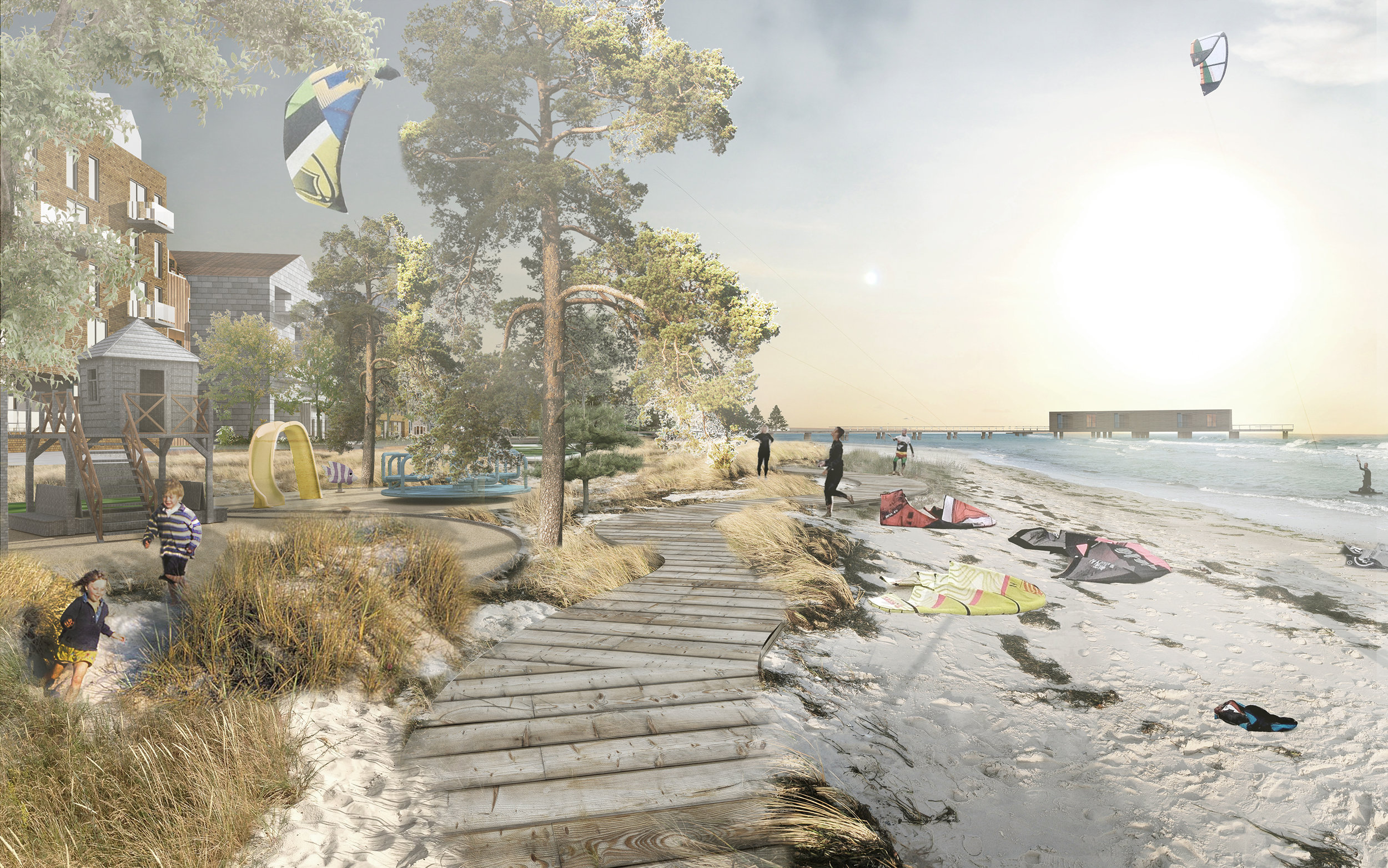 Reclaimed coastal promenade extends the new neighbourhood to the sea.