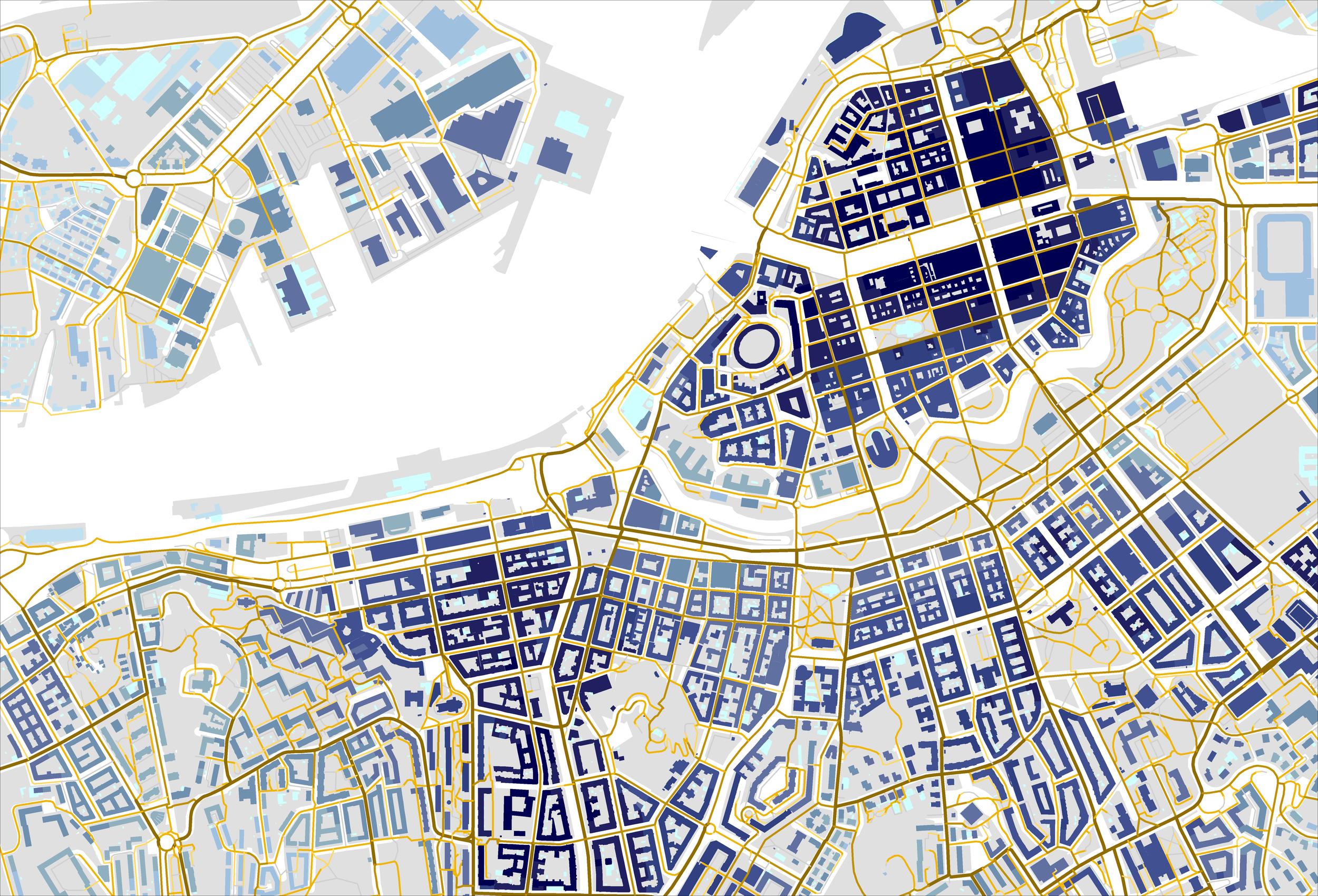 Figur 1. Den andra formen i städer. Alla kartor och planritningar är geometriska representationer som samtidigt redovisar en oerhörd mängd relationer i rummet. Det är denna förmåga som gör att vi använder geometriska språk och inte ord för att beskriva byggd form och rumslig struktur. Samtidigt är en vanlig karta eller planritning generisk i det att den beskriver oerhört många relationer i allmänna drag men ingen med stor precision.  Kartan ovan däremot beskriver två typer av relationer med stor precision. Den första är hur nära varje gatusegment är varje annat gatusegment inom en radie av 500 m, där närhet inte är mätt i meter utan topologiskt som antal gatusegment. Ju närmare ett gatusegment är andra gatusegment inom denna radie desto mörkare brun nyans har de getts. En vanlig karta skulle enbart redovisa gatusystemet som en struktur med en viss form, vad vi kallat den första formen, men här har varje segment i getts en kulör som redovisar dess läge i relation till alla andra segment i gatusystemet, vad vi kallat den andra formen.  Av stort intresse är då att den andra formen förefaller visa inte bara stadens geometriska form utan även stadslivets form i det att de mörkare segmenten i hög grad också är de där vi ser större flöden, ett rikare butiksliv och högre lokalhyror. Vi ser alltså ett band mellan rumslig struktur och urbana processer. I förlängningen kan vi då även dra slutsatsen att en förändring av den rumsliga strukturen även påverkar dessa processer. Det vill säga att vi genom arkitektarbete kan påverka stadslivet. Detta samband ser vi dock först när vi frilägger den andra formen och inte nöjer oss med den första.  På samma sätt har vi beskrivit bebyggelsen relationellt som hur mycket byggd yta man når från varje byggnad inom en radie på 2000 m om man följer gatunätet; ju mer byggd yta man när desto mörkare blå kulör. Återigen kan vi säga att en vanlig karta bara skulle redovisa byggnadernas planform, den första formen, men här visas byggnadernas relatio