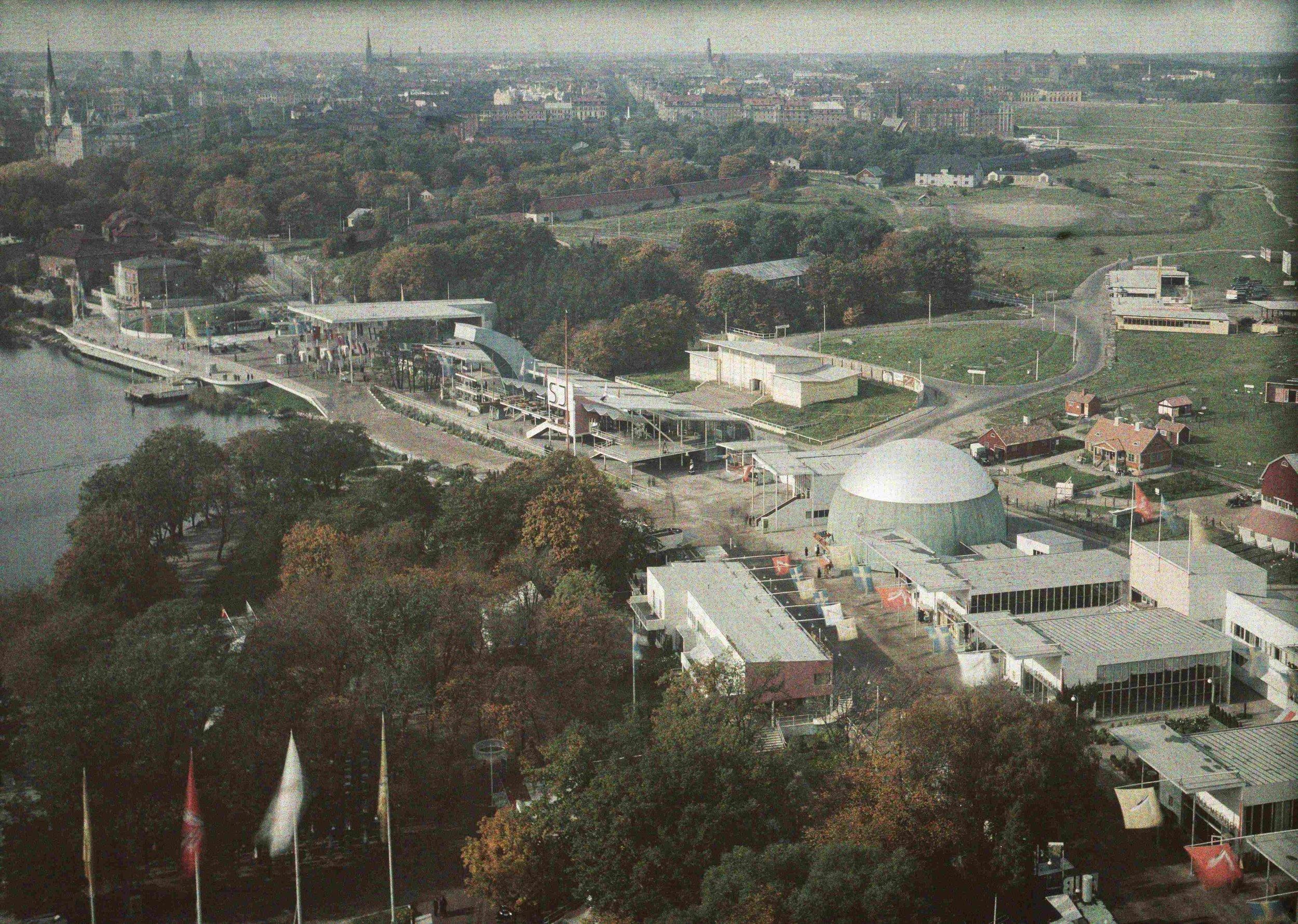 Flygbild över utställningsområdet. Stockholmsutställningen 1930, Arkitektur- och designcentrum