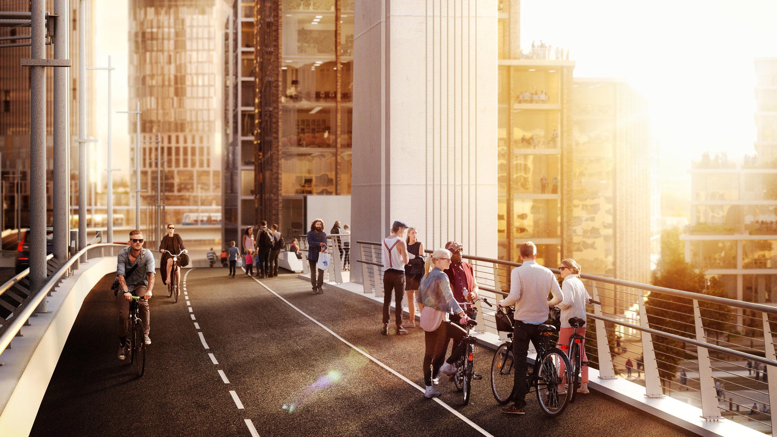 Visionsbild av Hisingsbrons ena gång- och cykelbana, Tomorrow för Göteborgs stad