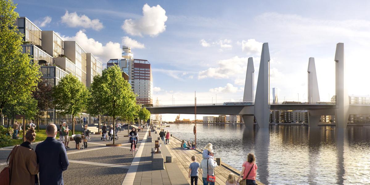 Visionsbild av Hisingsbron från Kajstraåket centralområdet, Tomorrow för Göteborgs stad