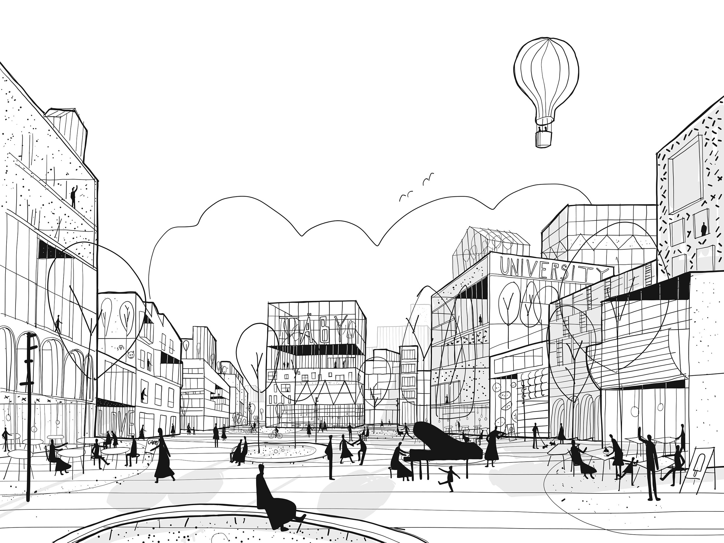 Flexible public space  Tibble will grow on the basis that people's way of moving constantly changes, with a street network that is generous and flexible.
