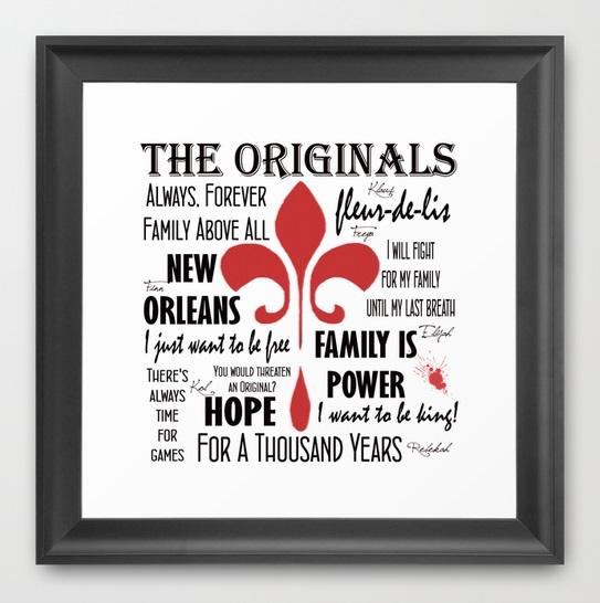 Originals inspired framed print on white
