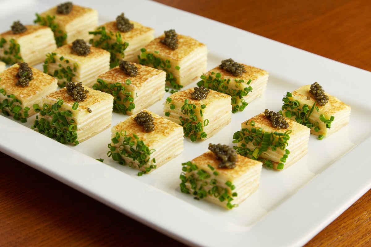 Black Sturgeon Caviar | 1000 Layer Crepe Napoleon | Creme Fraiche | Chive