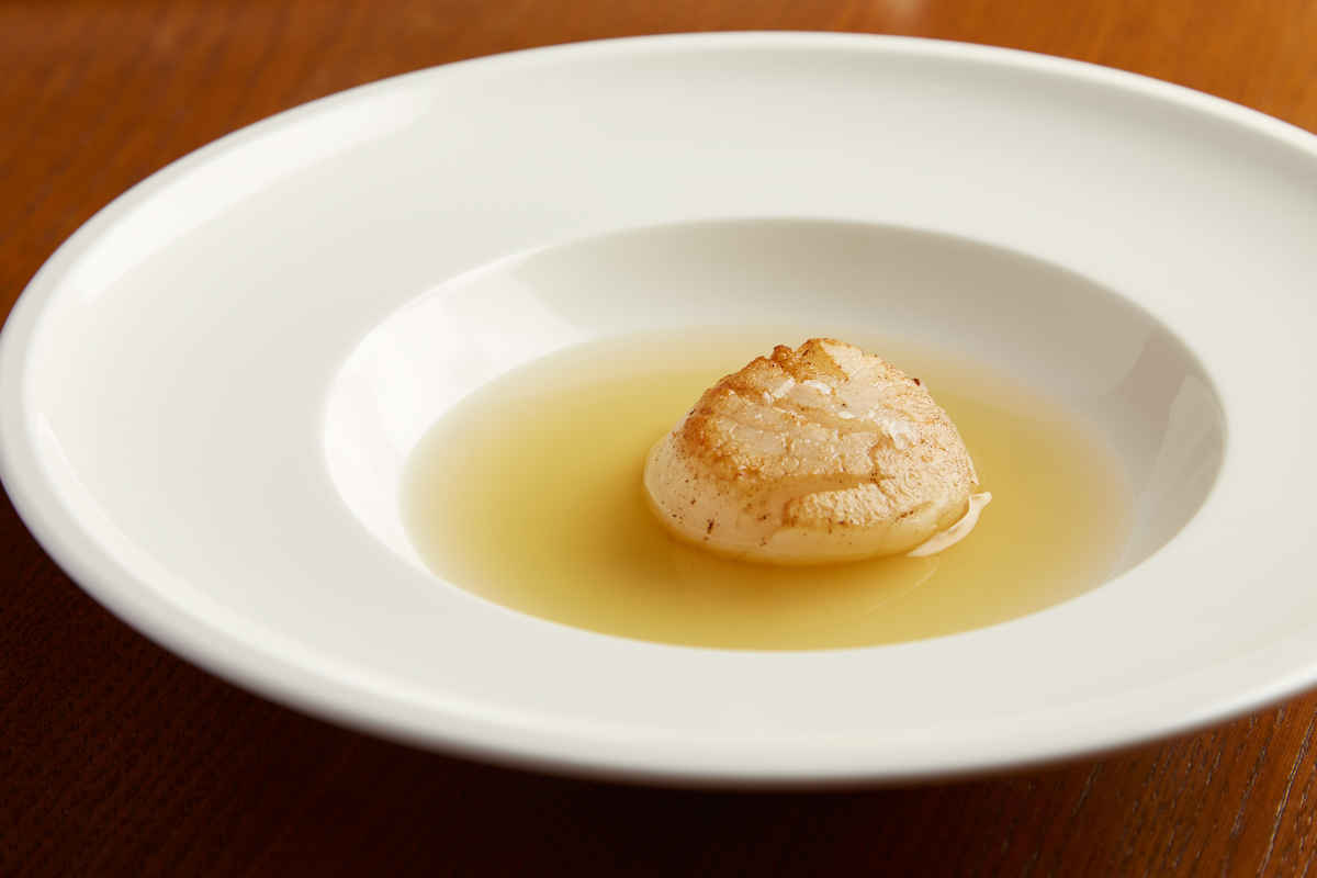 Poached Dry Sea Scallop | Bacon Infused Dashi