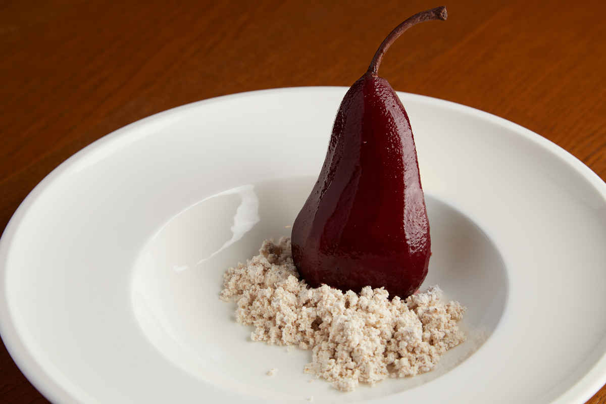 Spiced Red Wine Infused Pear | Hazelnut Chocolate Mousse | Praline Crumble