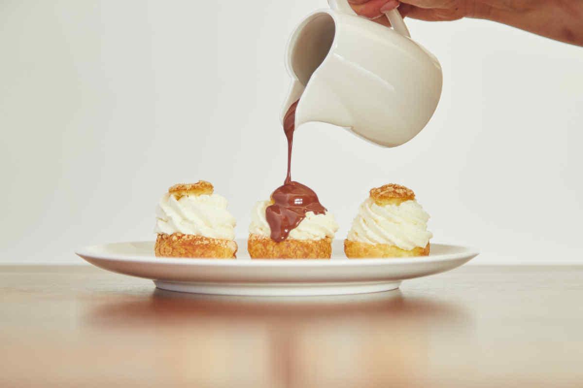 Housemade Choux à la Crème with Hot Chocolate Sauce