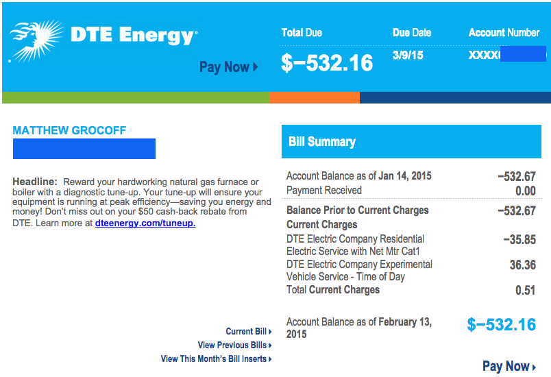 February 2015 DTE Energy Bill showing negative balance.