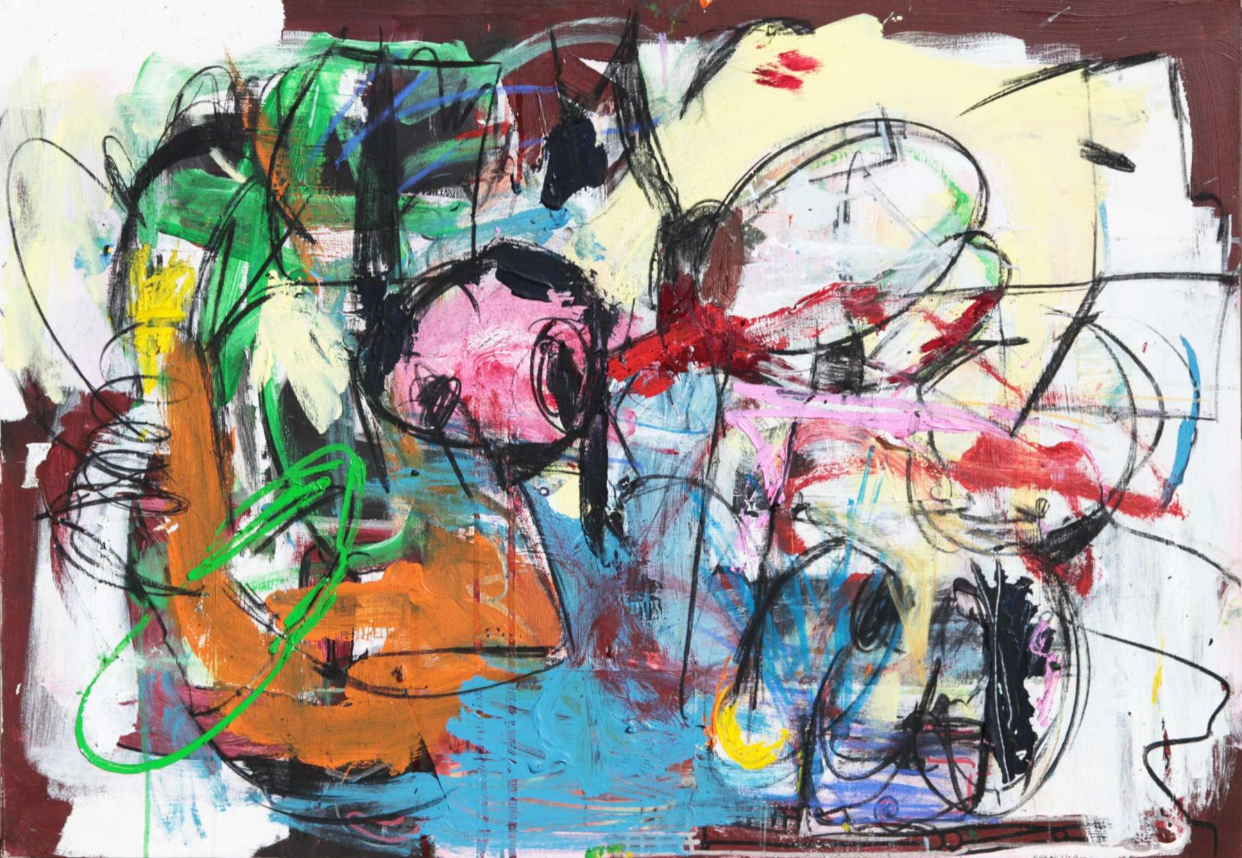 A Match On Tinder   Oil, Acrylic and Spray Paint on Canvas