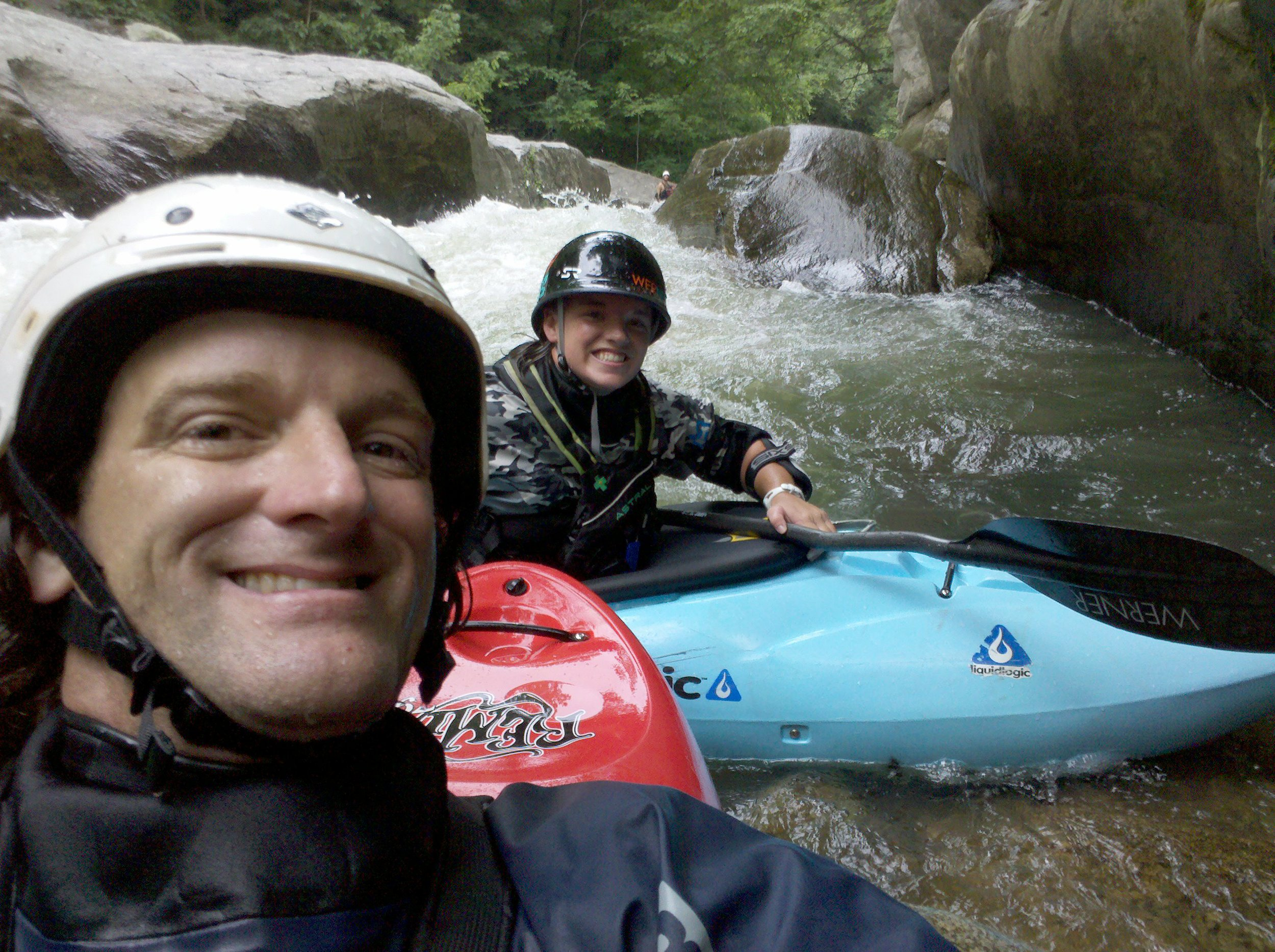 Along the way Adriene had a lot of help from many people. One of the biggest influences on her life was Shane Benedict. Shane taught Adriene much more than just about kayaking, he taught her life lessons and how to get over hardships. He will always be like a father to Adriene. Selfie in the Notch Eddy at Gorilla, Green River, NC 2008