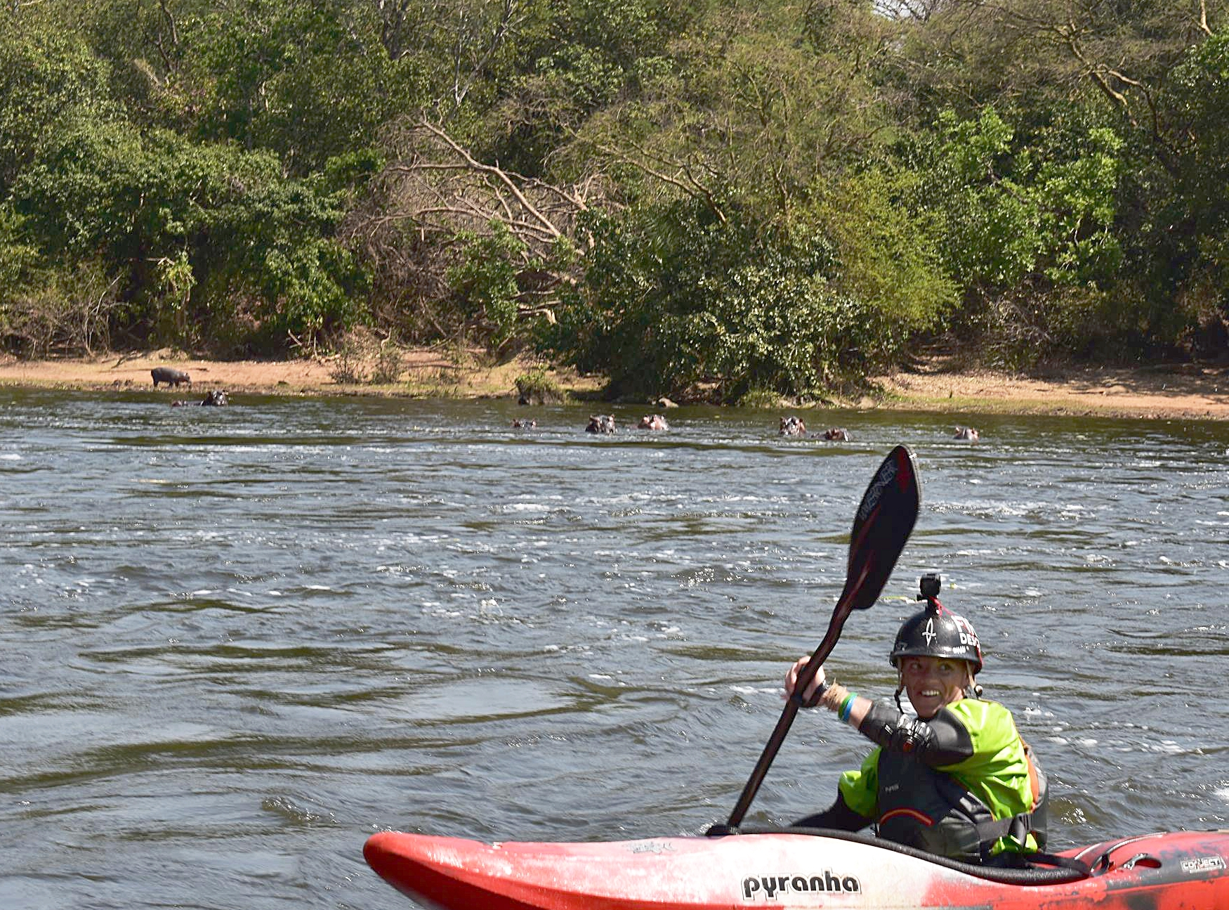 """My """"training"""" in Africa consisted of the biggest rapids I have ever seen and out-paddling the hippos and crocs between the rapids. Photo by: Bob Frederick"""