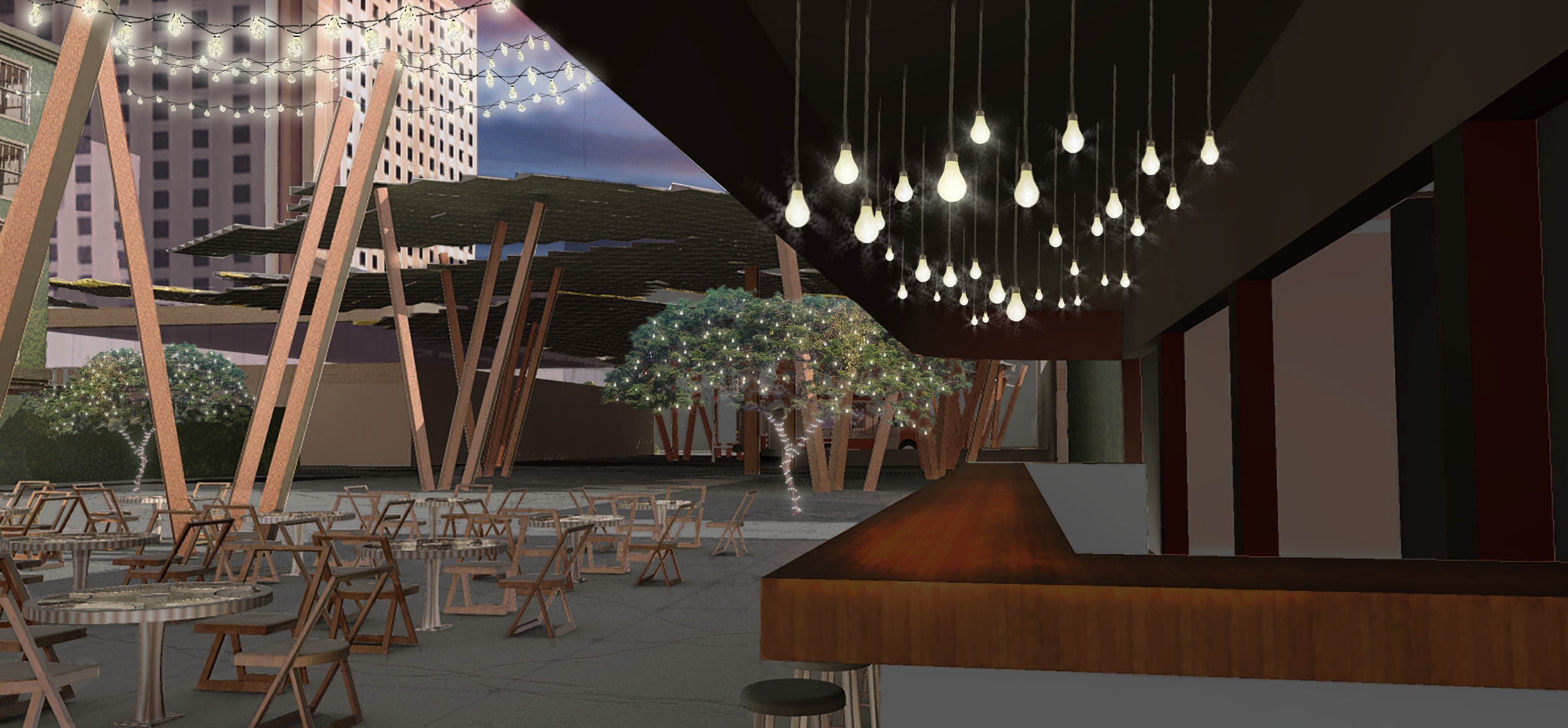 This image is the overlay of Sketchup and Kerkythea images with some added trees, lights, sky, and background buildings.
