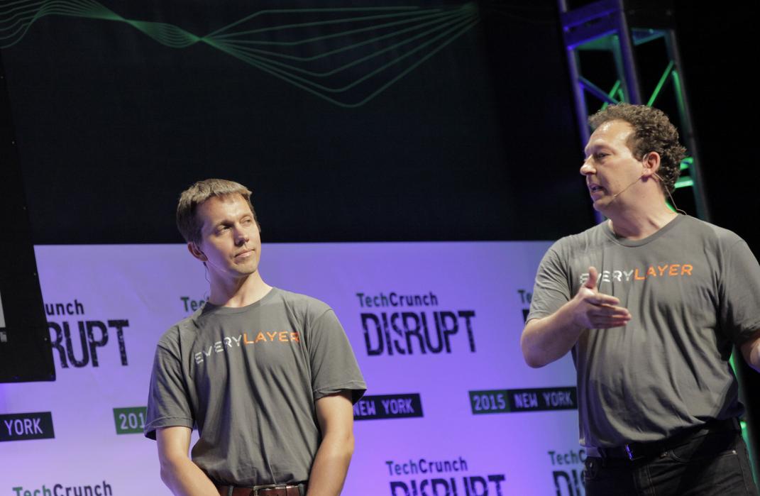 EveryLayer's CTO Andris Bjornson (left) and CEO Mark Summer on the TechCrunch Battlefield