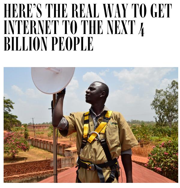 Zoom Wireless Technician, Bernard Oola, installs broadband in Gulu. Zoom Wireless is EveryLayer's customer in Uganda.