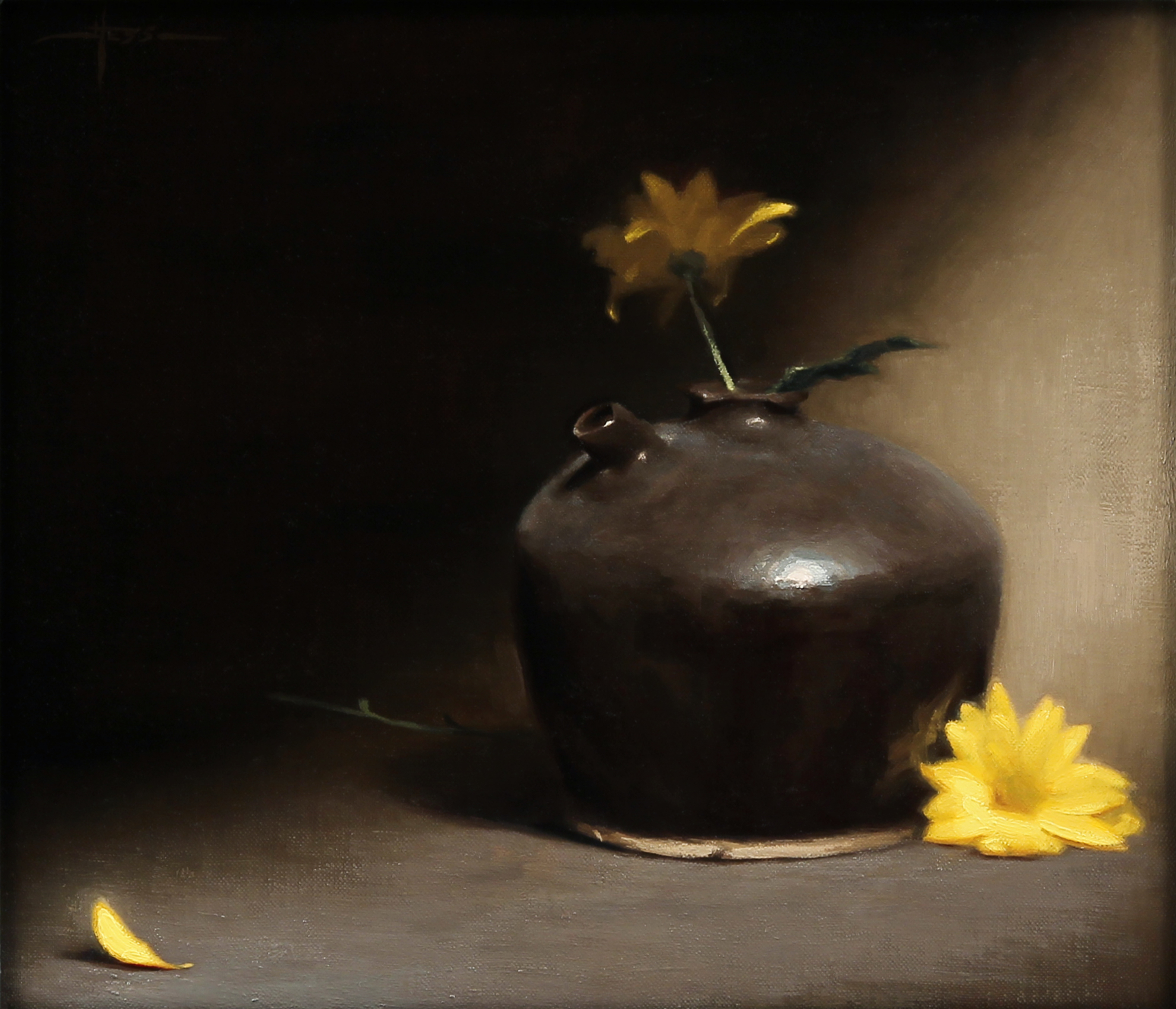 Justin Hess,  Yellow Flowers,  oil on linen, 12x14 in