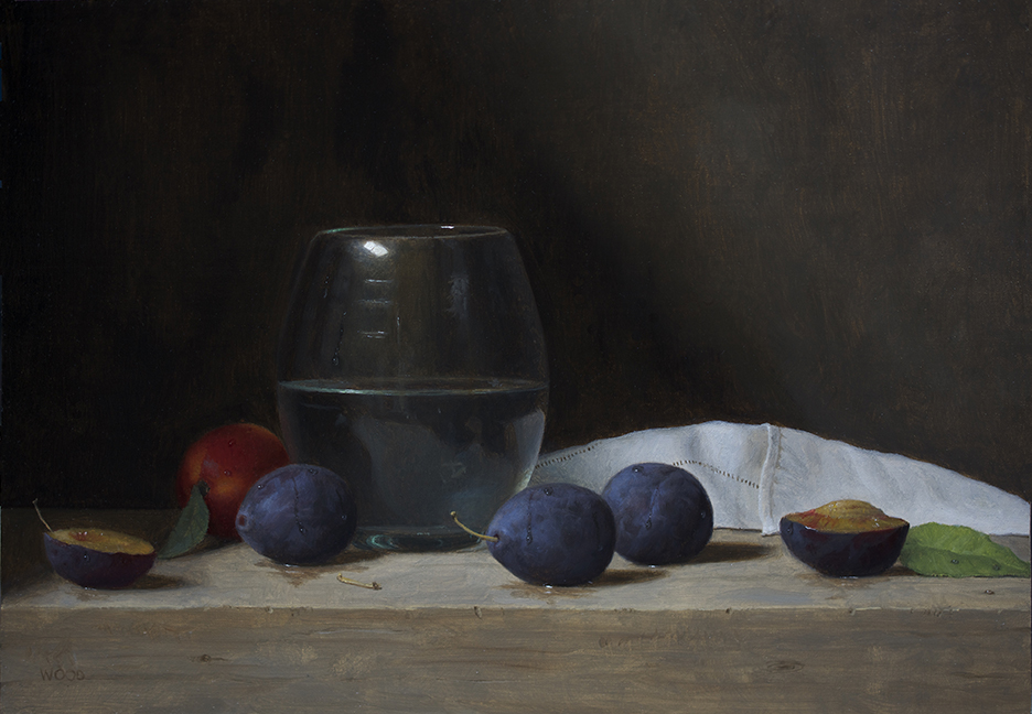 Justin Wood,  till Life With Plums and Tangerine,  oil on canvas on board, 9x13 in