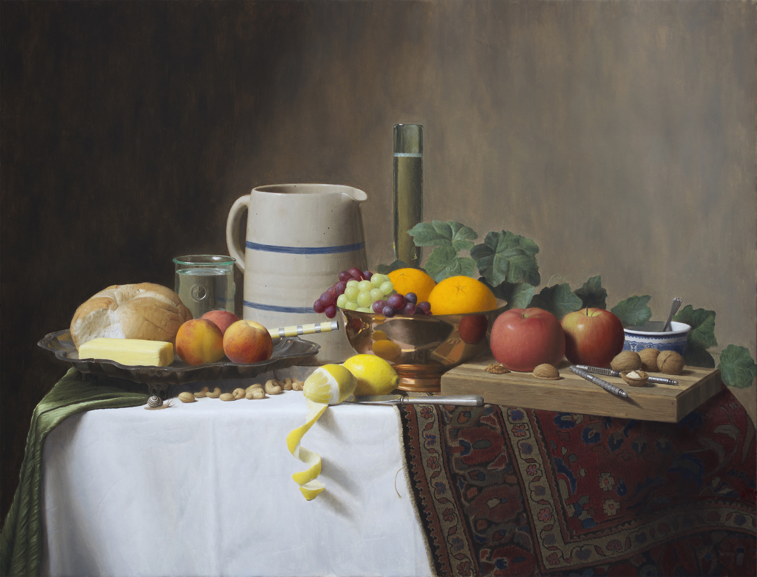 Justin Wood,  Still Life with Fruit,  oil on canvas, 26x34 in