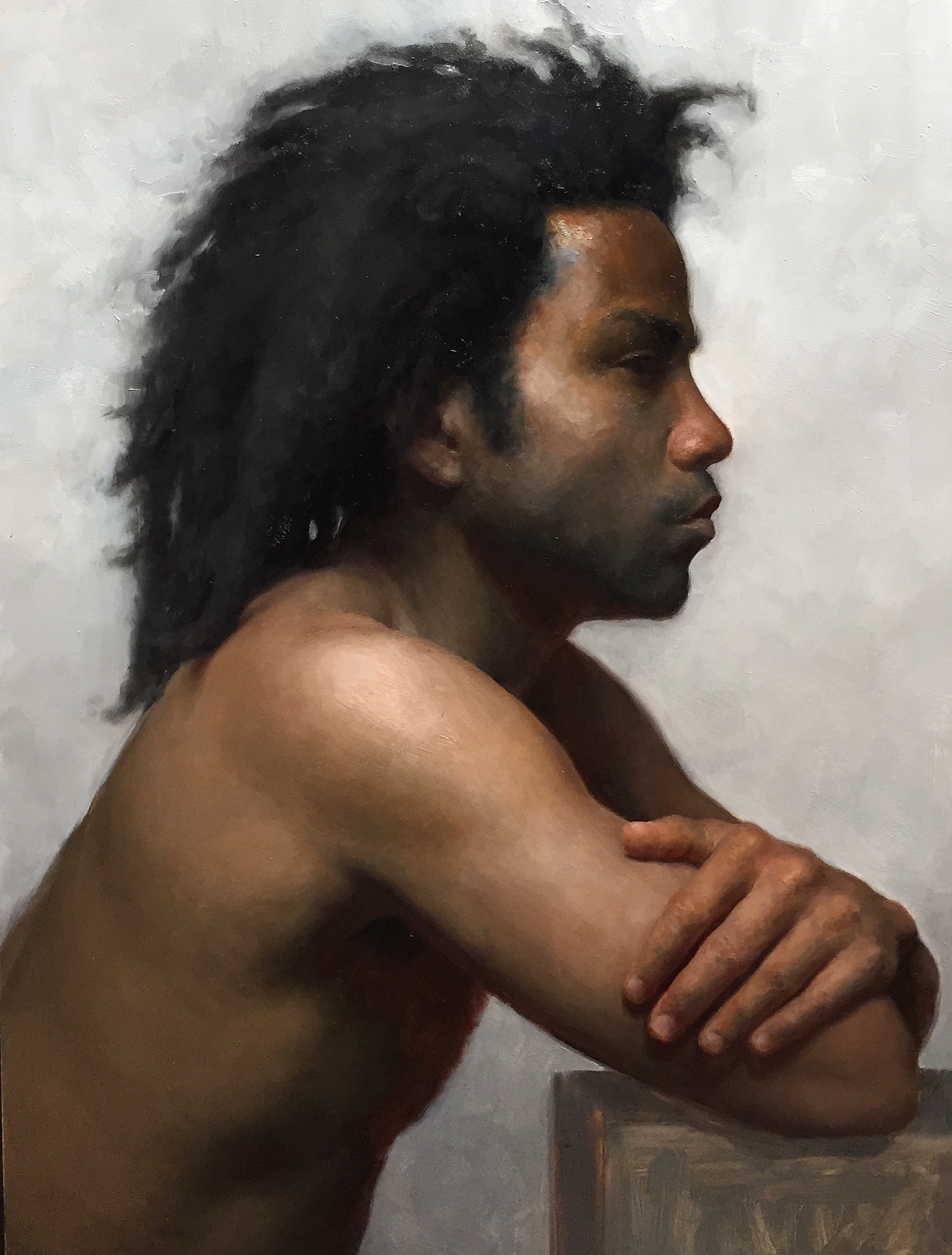 "Patrick Byrnes, ""Jamaal in profile"", oil on panel, 23x16 in"