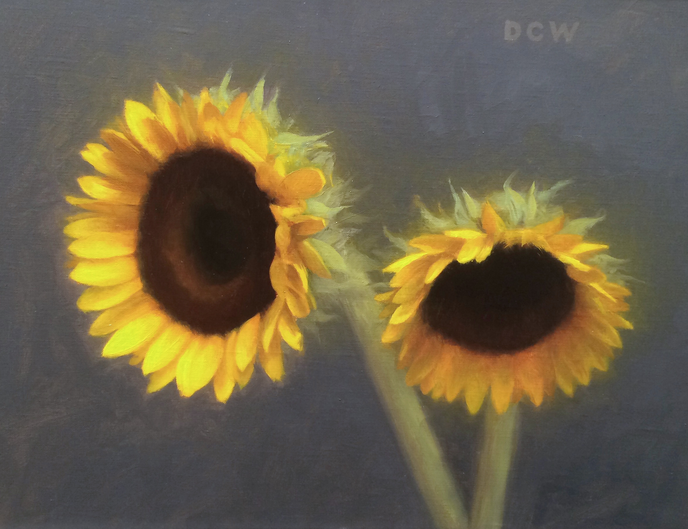 "Devin Cecil-Wishing, ""Sunflowers"", oil on linen, 9x12 in"
