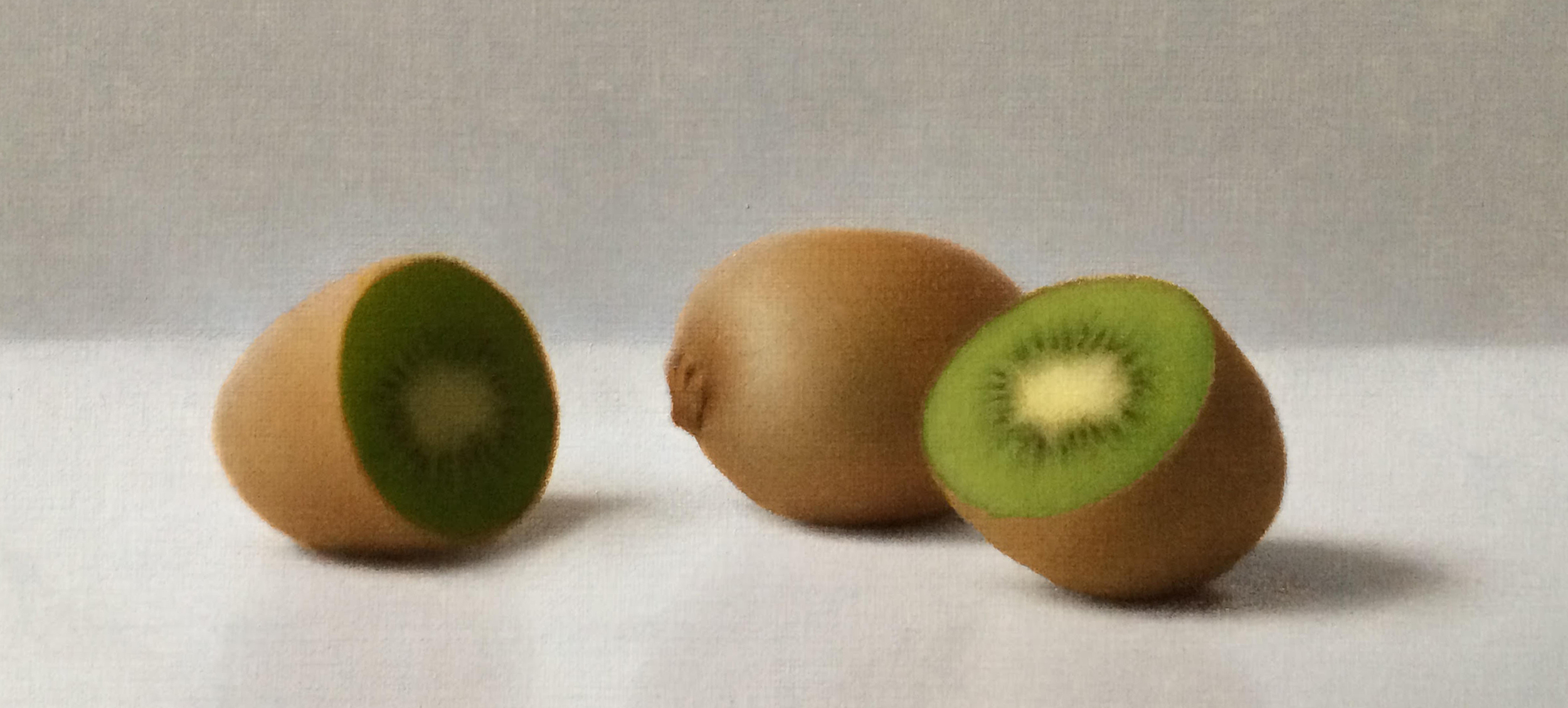 "Devin Cecil-Wishing, ""Kiwis"", oil on linen mounted to panel, 5x9 in"
