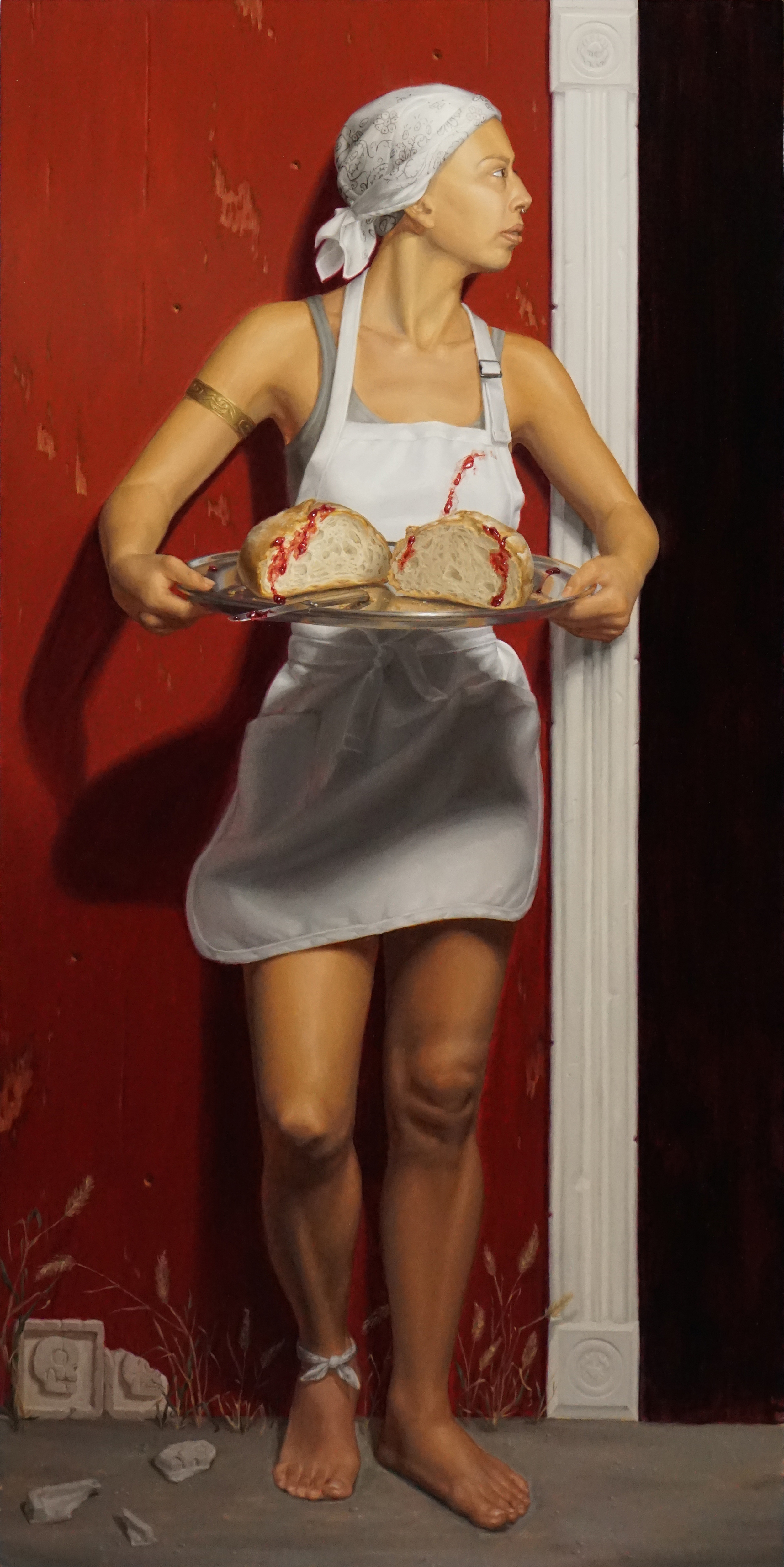 "Sally Fama Cochrane, ""BRCA_1"", oil on panel, 36x18 in"
