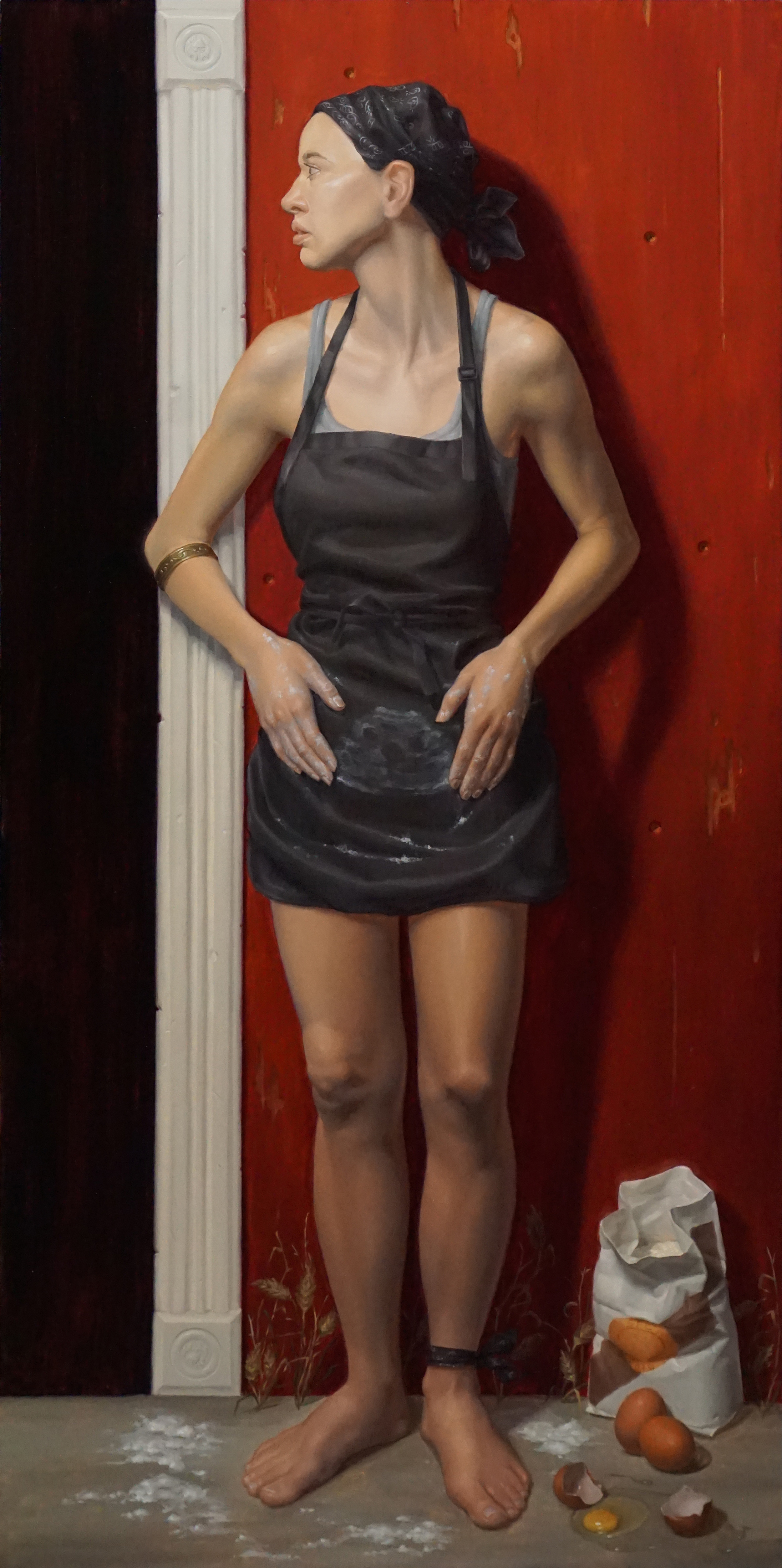 "Sally Fama Cochrane, ""BRCA_2"", oil on panel, 18x36 in"