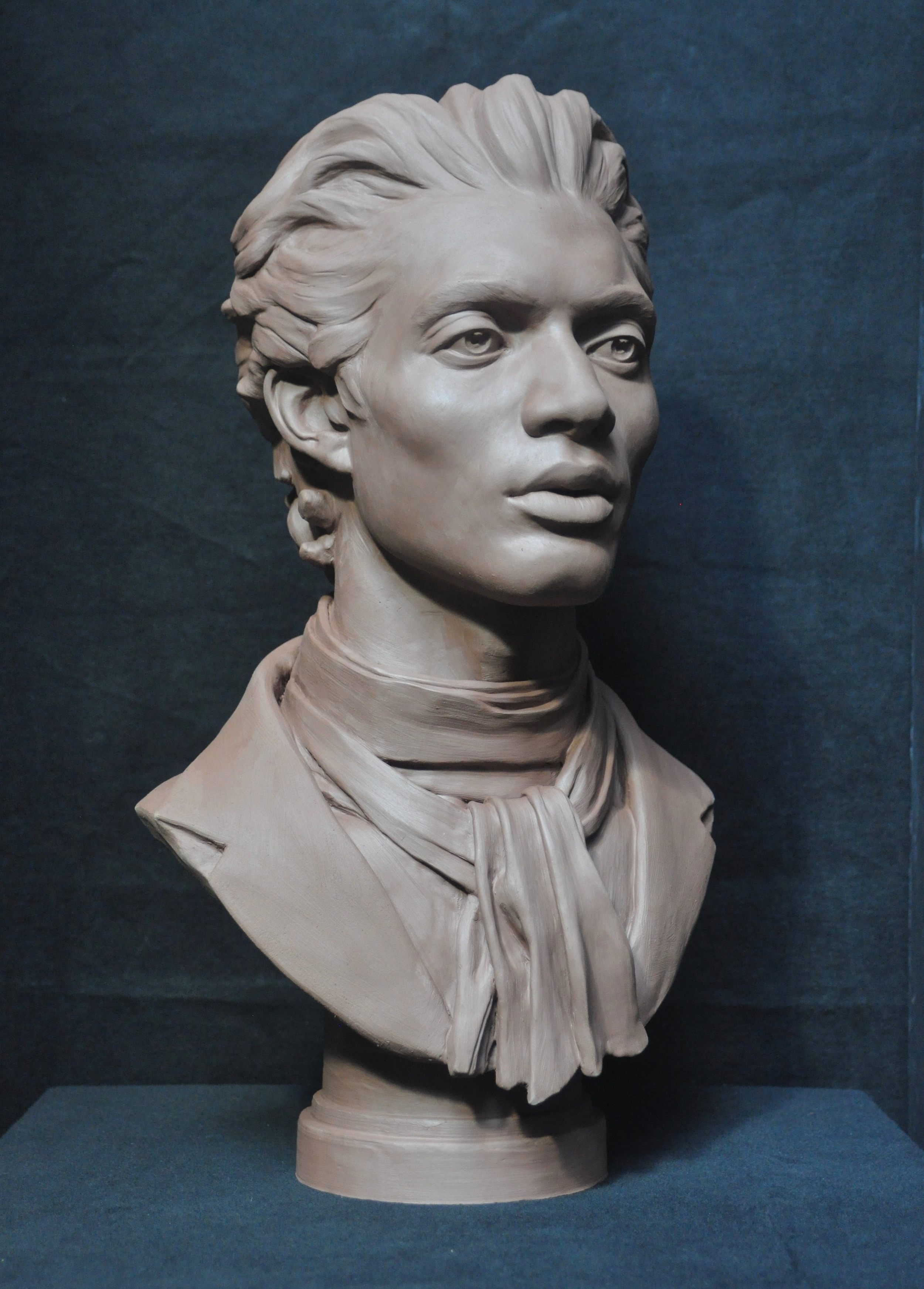 "Brendan Johnston, ""Cyrus - Portrait of a Poet"", terra cotta, 21x11x9 in"