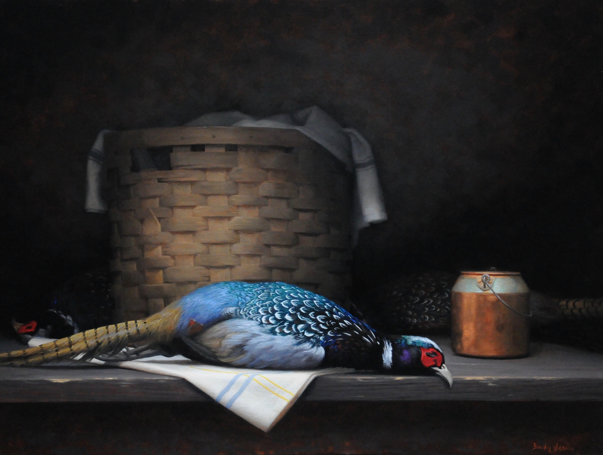 "Brendan Johnston, ""Pheasant and Wicker Basket"", oil on linen, 30x40 in"