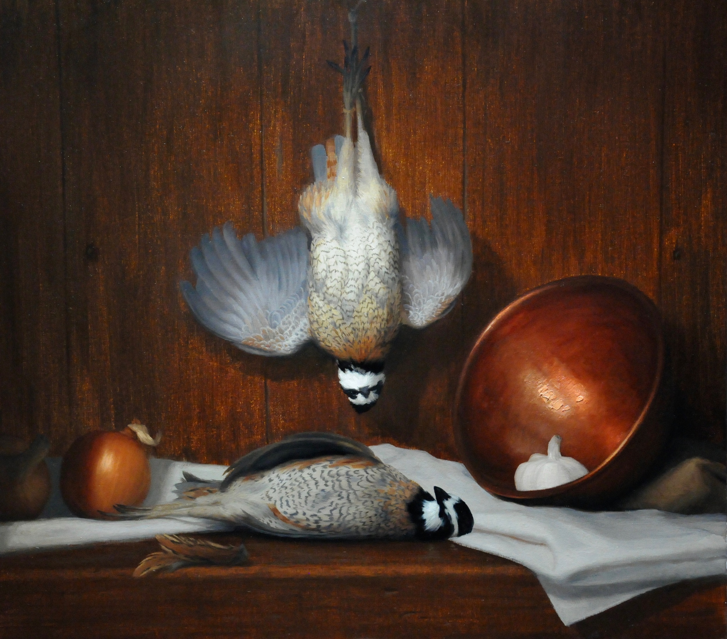 "Brendan Johnston, ""Quail and Copper Bowl"", oil on linen, 23x26 in"