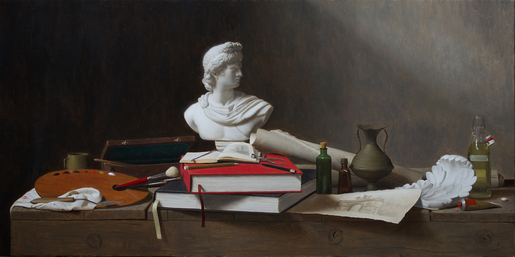 "Justin Wood, ""Attributes of the Arts"", oil on canvas, 20x40 in"
