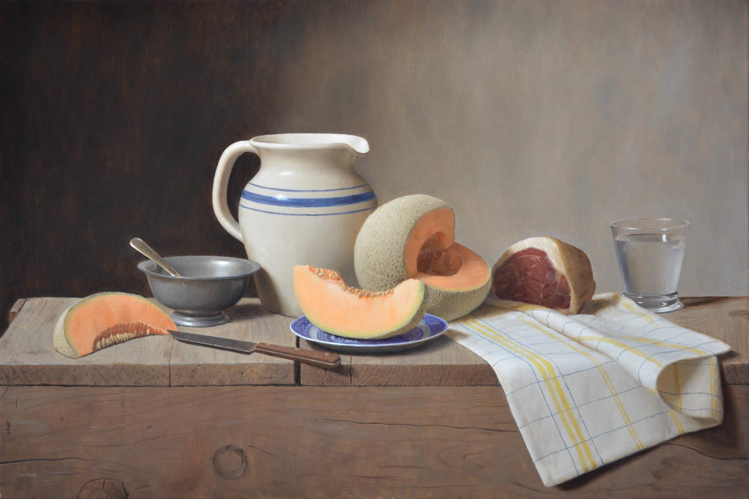 "Justin Wood, ""Cantaloupe and Prosciutto"", oil on canvas, 20x30 in"